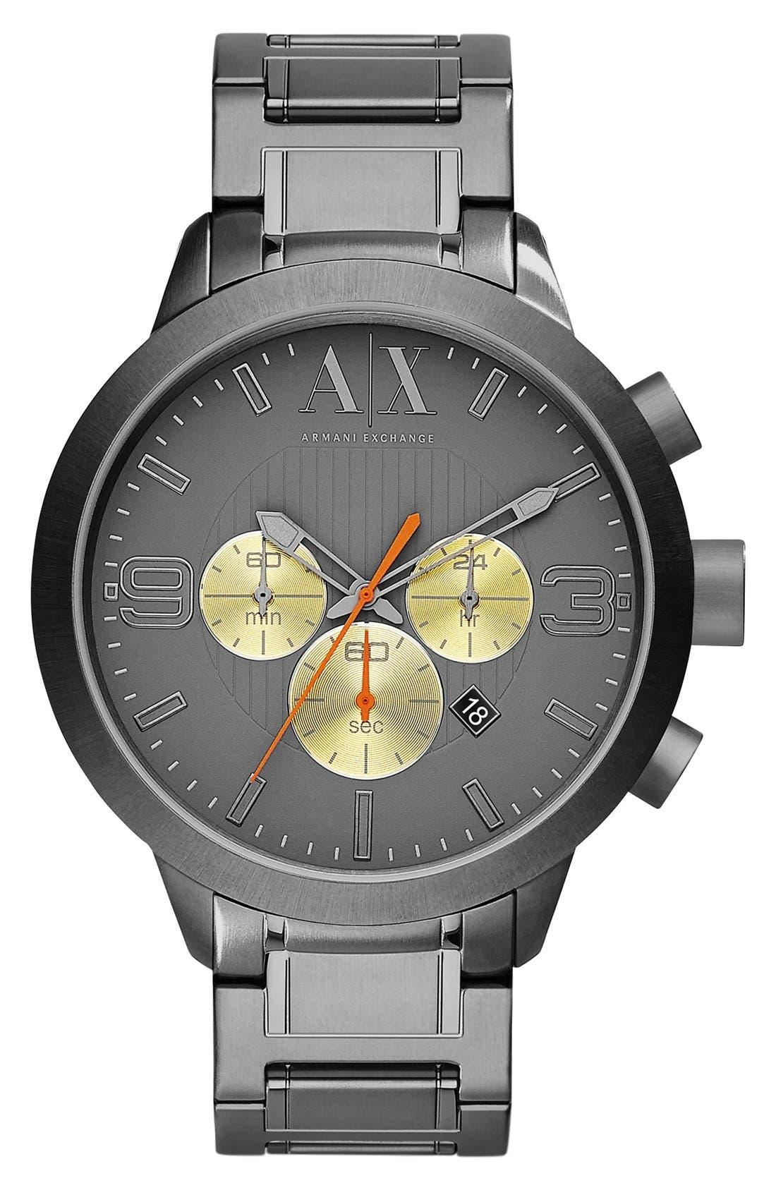 Main Image - AX Armani Exchange Contrast Subdial Bracelet Watch, 45mm