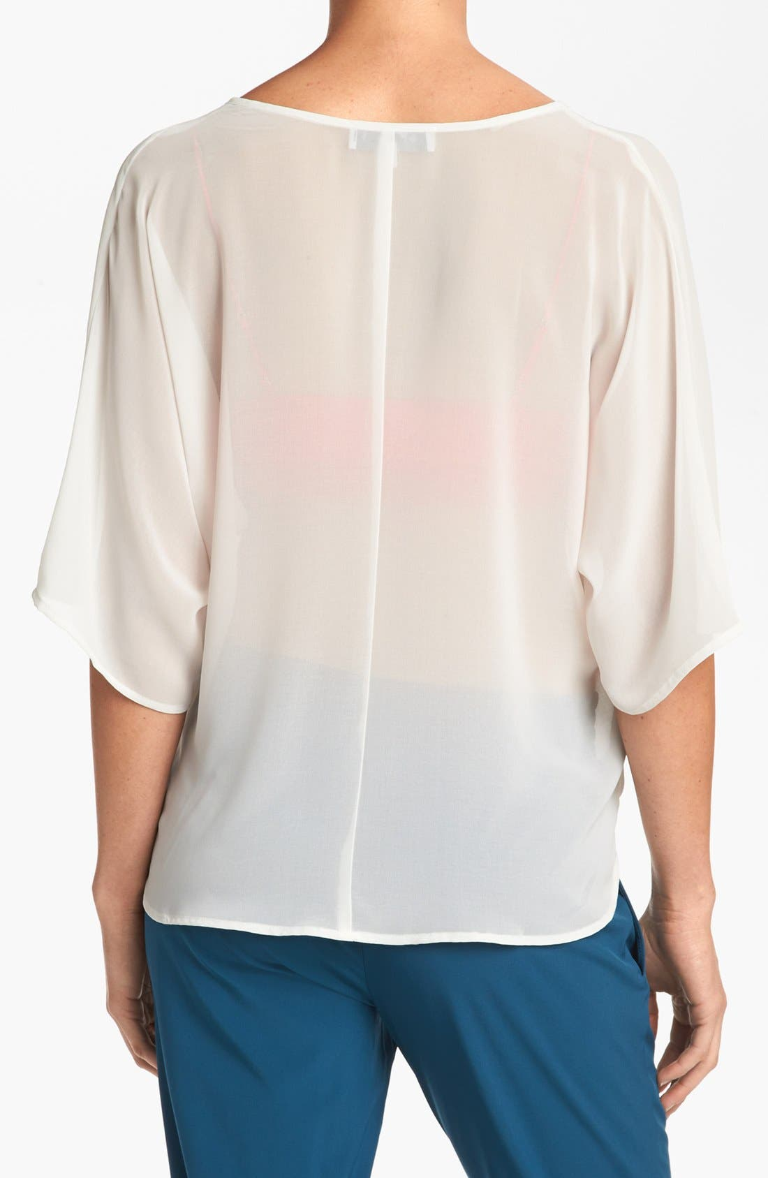 Alternate Image 2  - WAYF Sheer Dolman Sleeve Wrap Blouse
