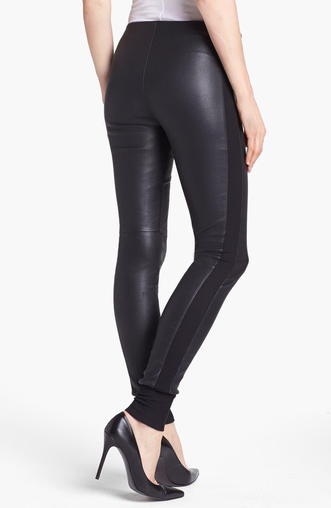 Alternate Image 2  - Vince Leather & Knit Skinny Pants