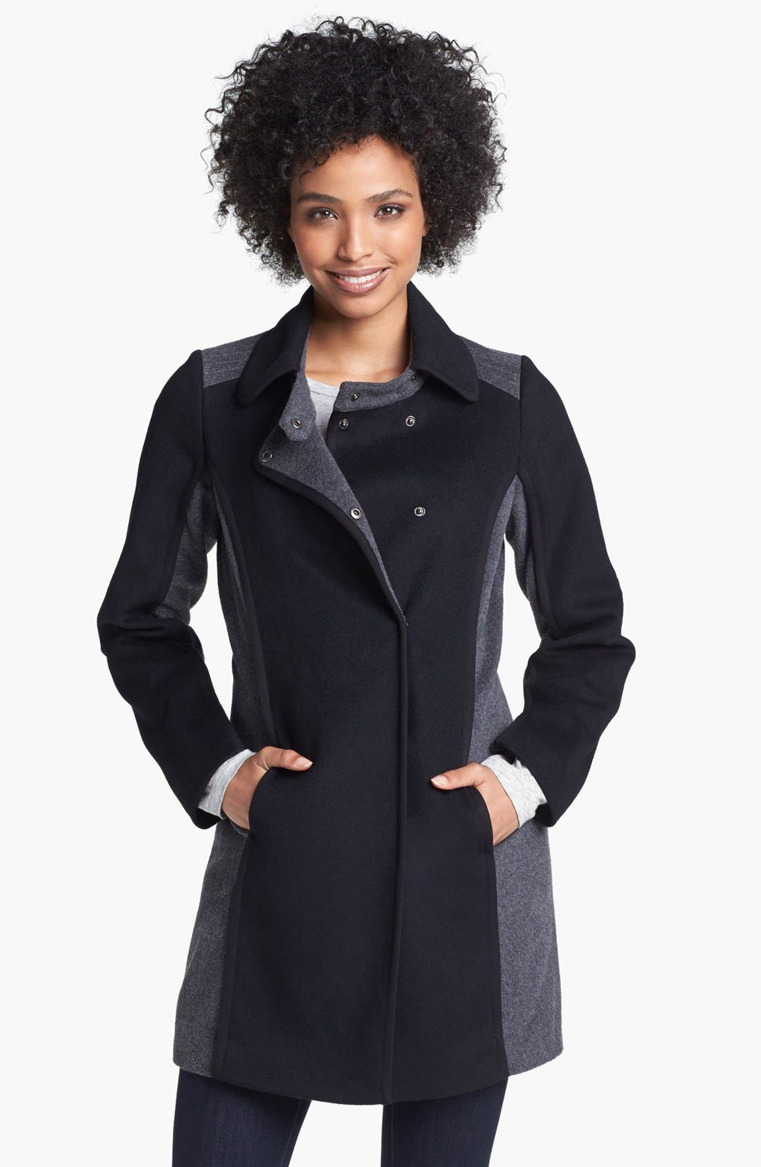 Main Image - Kristen Blake Two Tone Wool Blend Walking Coat (Nordstrom Exclusive)