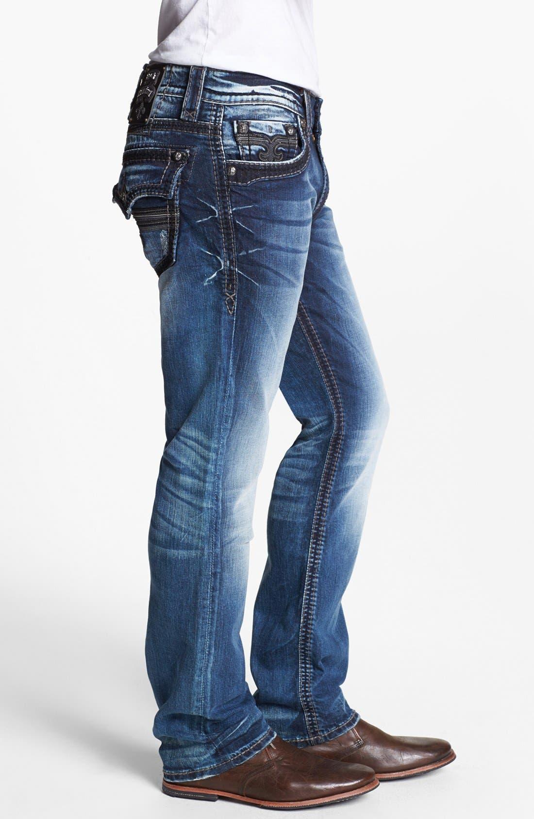 Alternate Image 3  - Rock Revival 'Tim Alternative' Straight Leg Jeans (Medium Blue)
