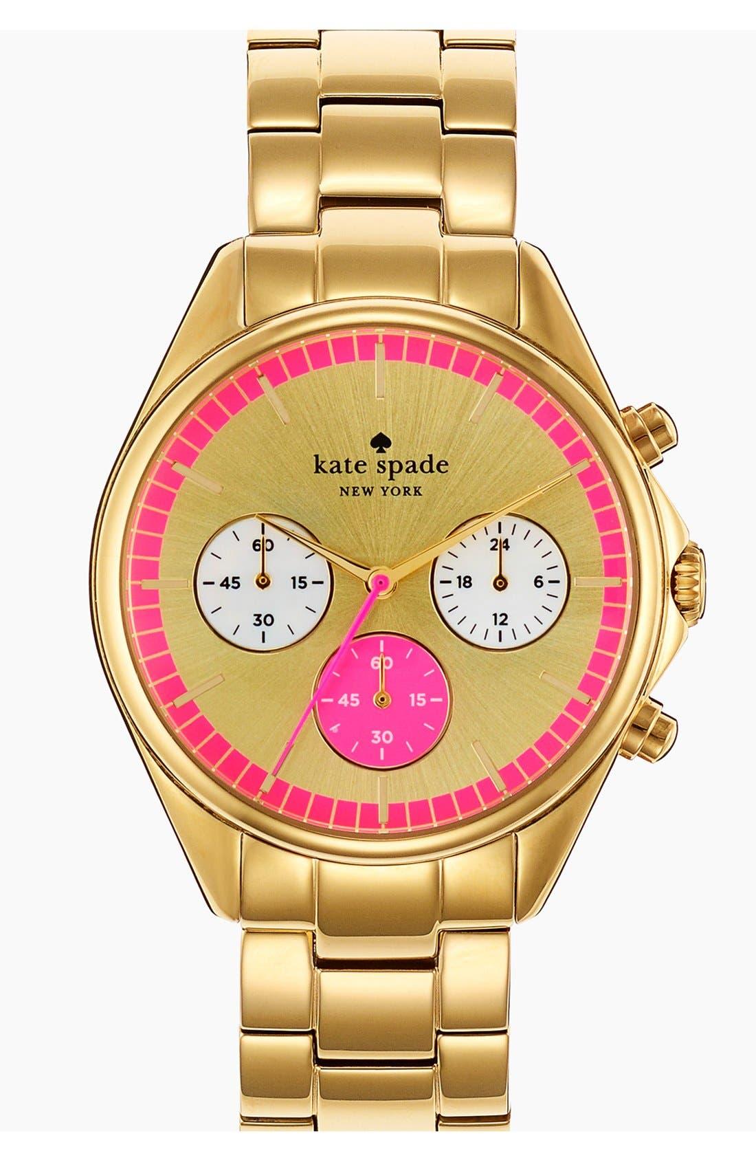 Alternate Image 1 Selected - kate spade new york 'seaport' chronograph bracelet watch, 38mm