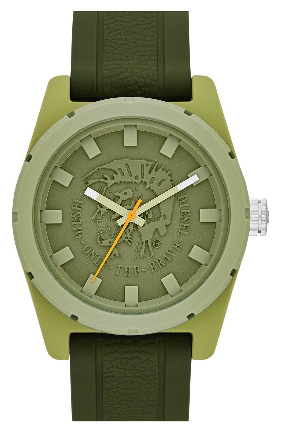 Main Image - DIESEL® 'NSBB' Logo Dial Silicone Strap Watch, 46mm