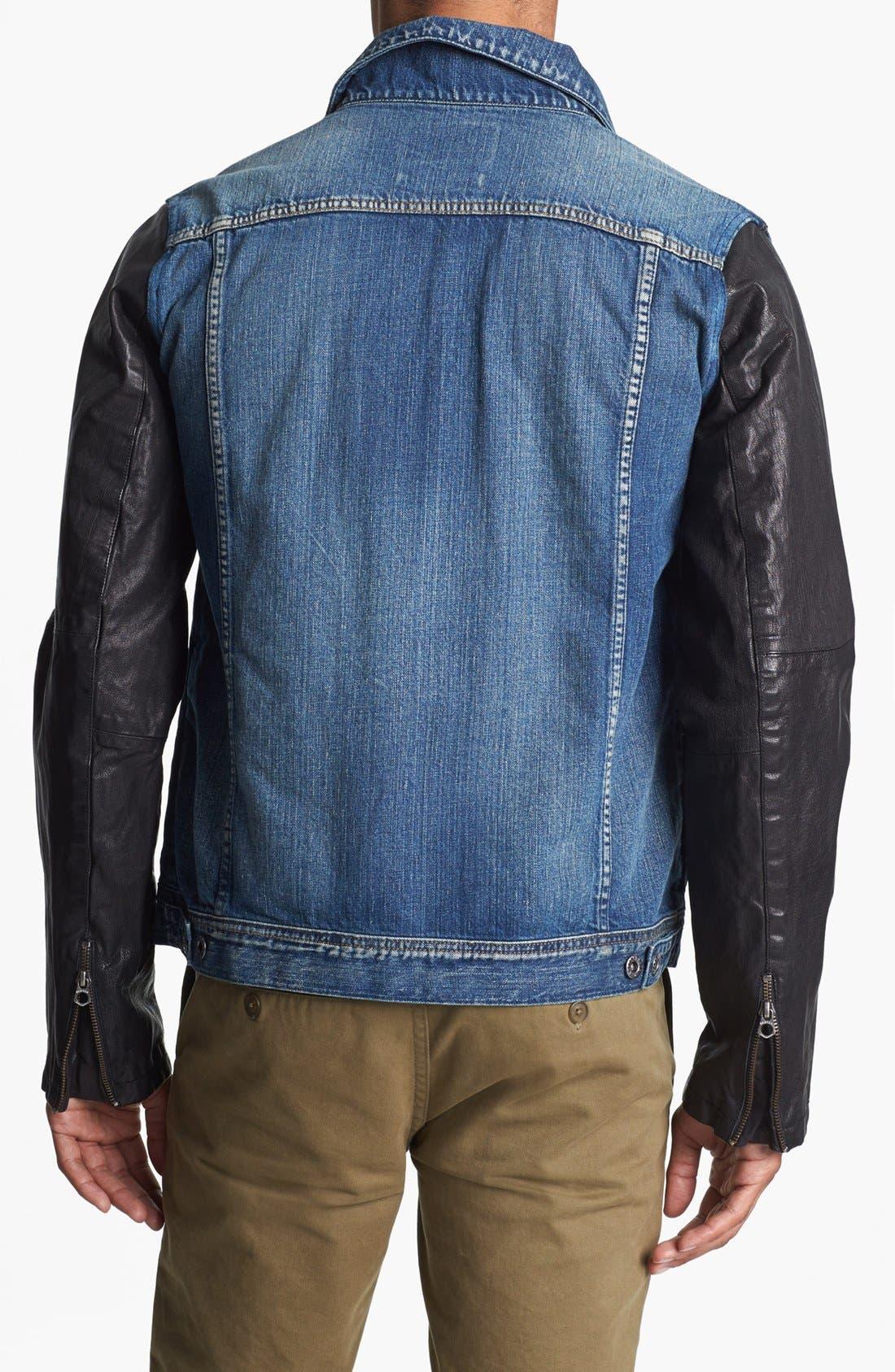 Alternate Image 2  - Scotch & Soda Denim Jacket with Leather Sleeves