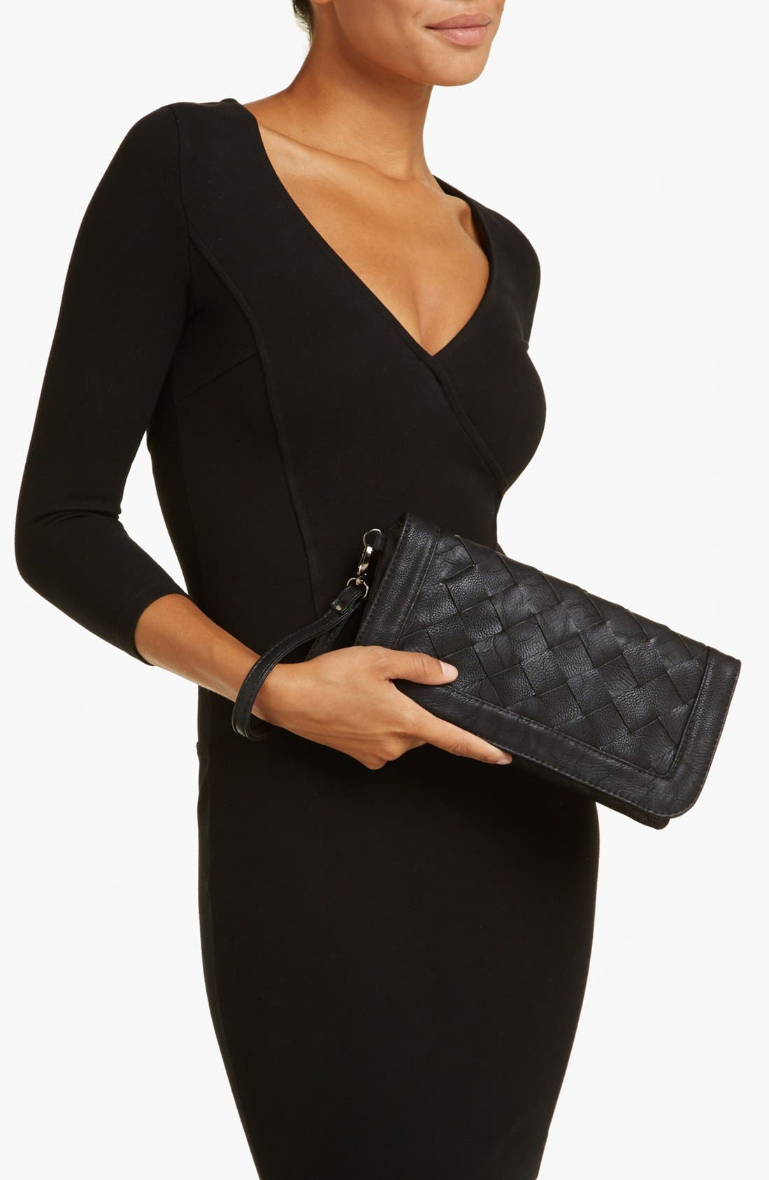 Alternate Image 2  - Natasha Couture Woven Faux Leather Clutch