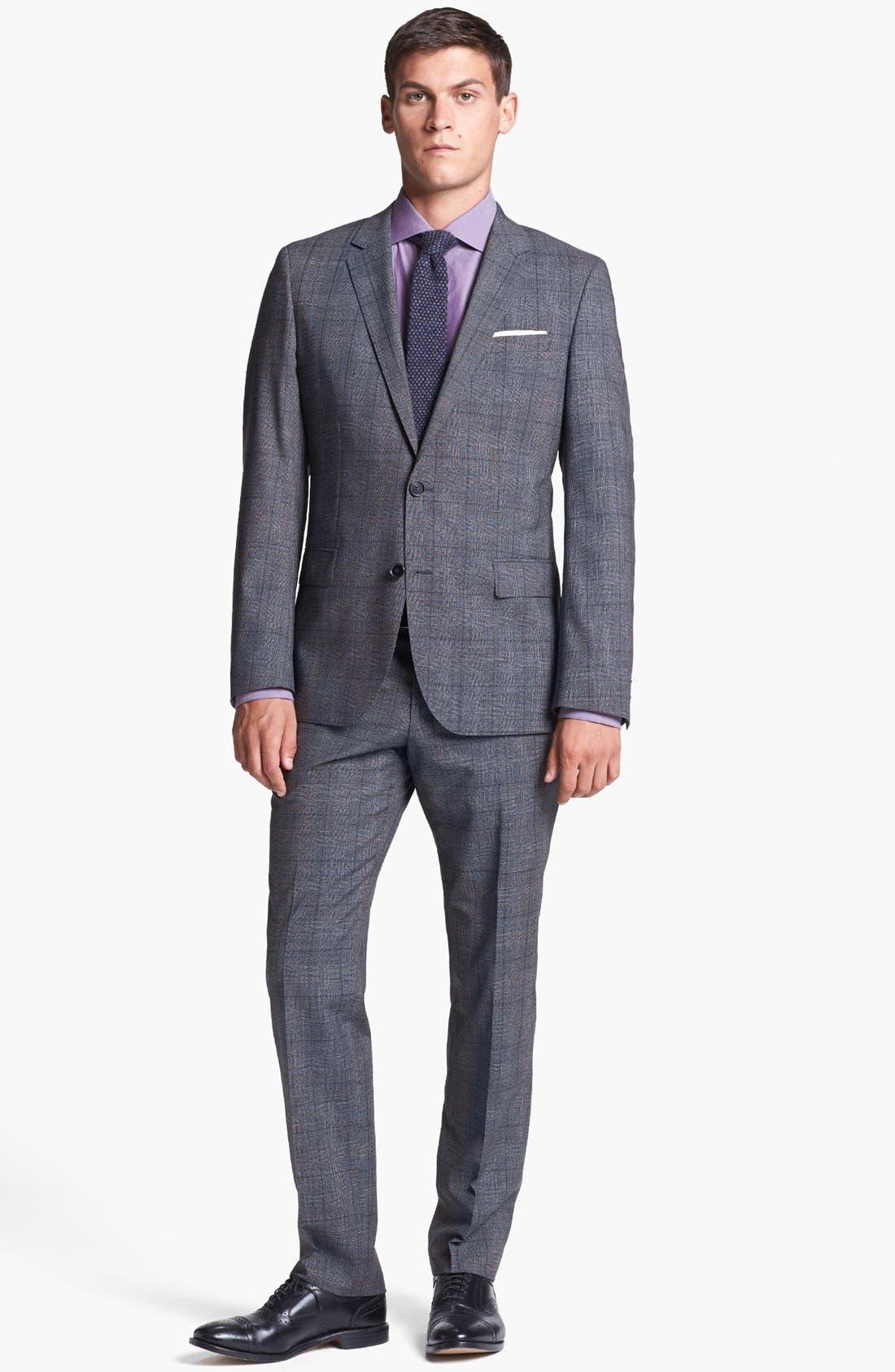Alternate Image 1 Selected - BOSS HUGO BOSS 'Huge/Genius' Trim Fit Plaid Suit
