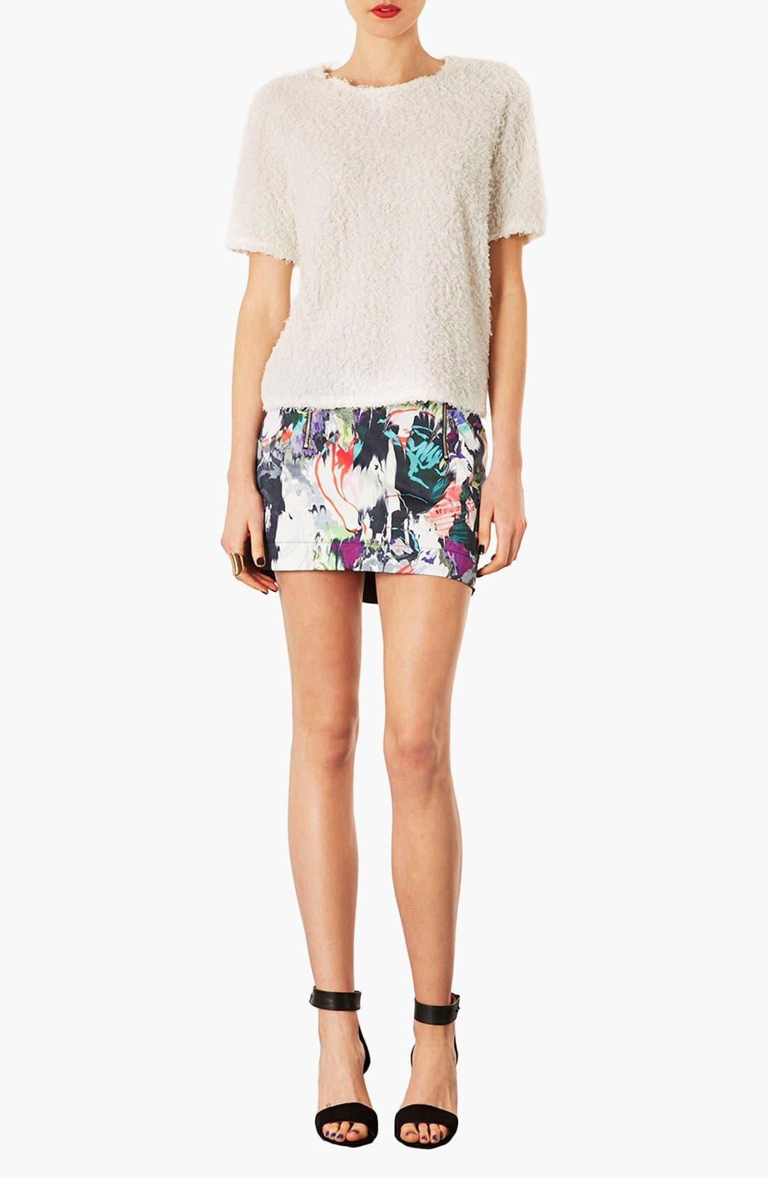 Alternate Image 3  - Topshop Marble Print High/Low Skirt