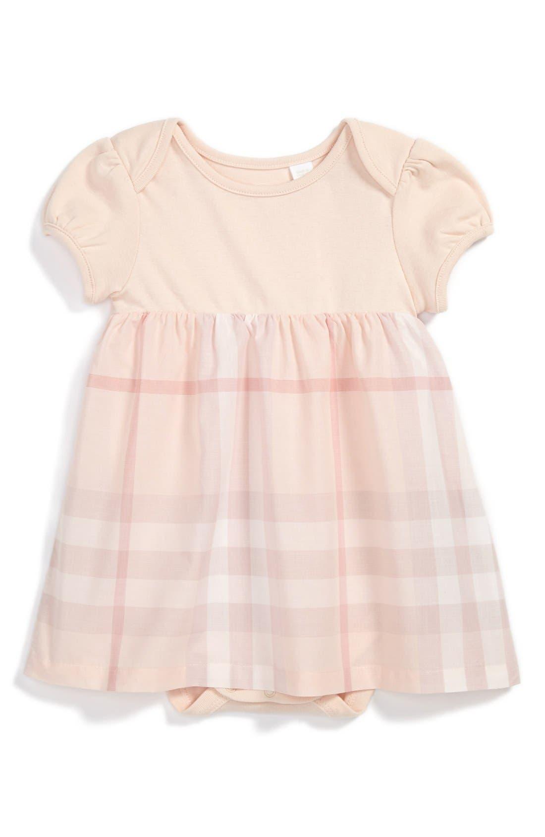 Alternate Image 1 Selected - Burberry 'Cherrylina' Knit & Woven Dress (Baby Girls)