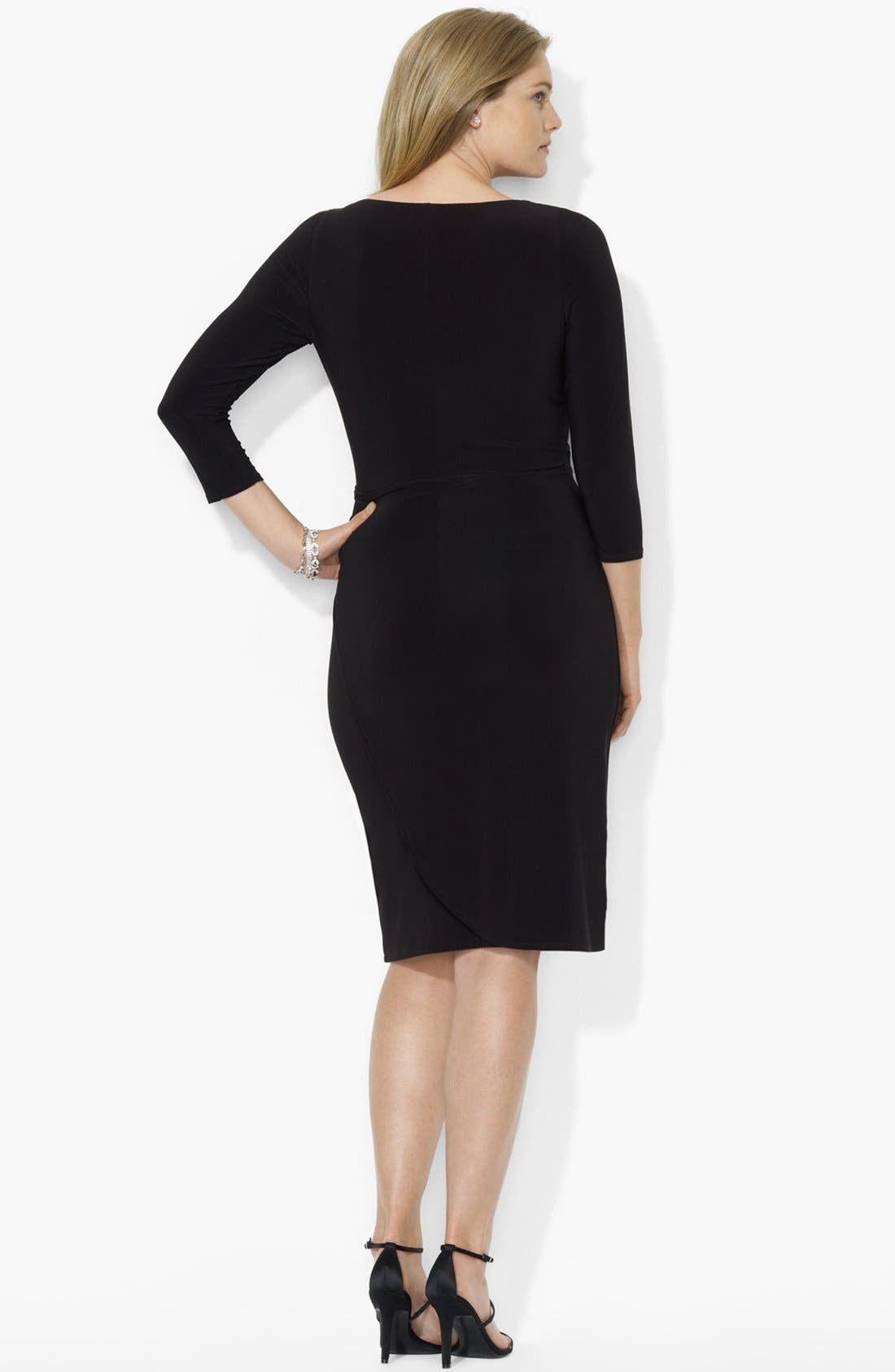 Alternate Image 2  - Lauren Ralph Lauren Matte Jersey Faux Wrap Dress (Plus Size)