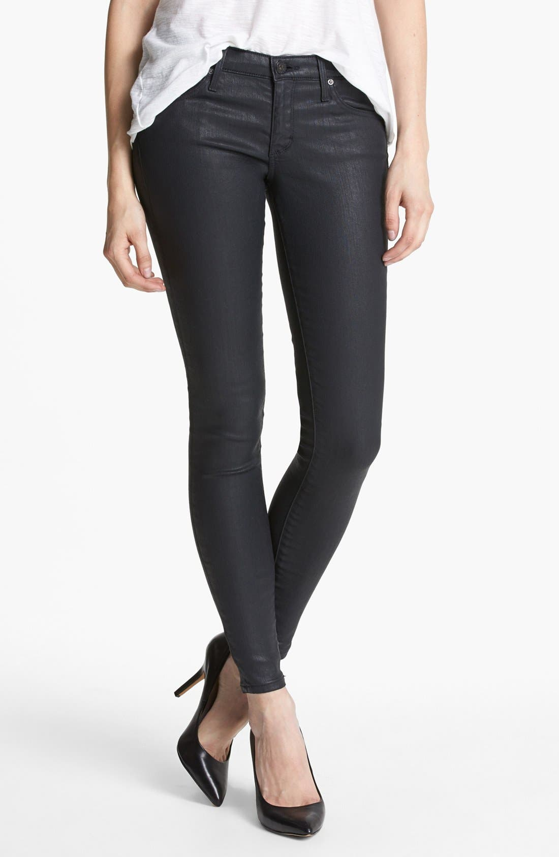 Alternate Image 1 Selected - AG Coated Extreme Skinny Jeans (BSC)