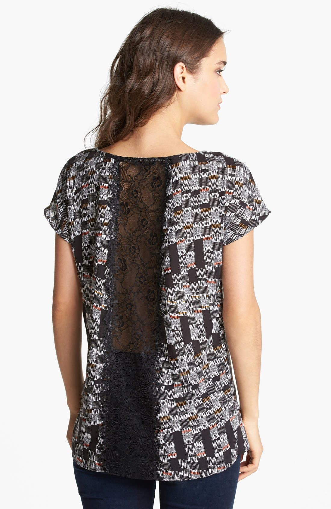 Alternate Image 2  - Ella Moss Lace Panel Print Top