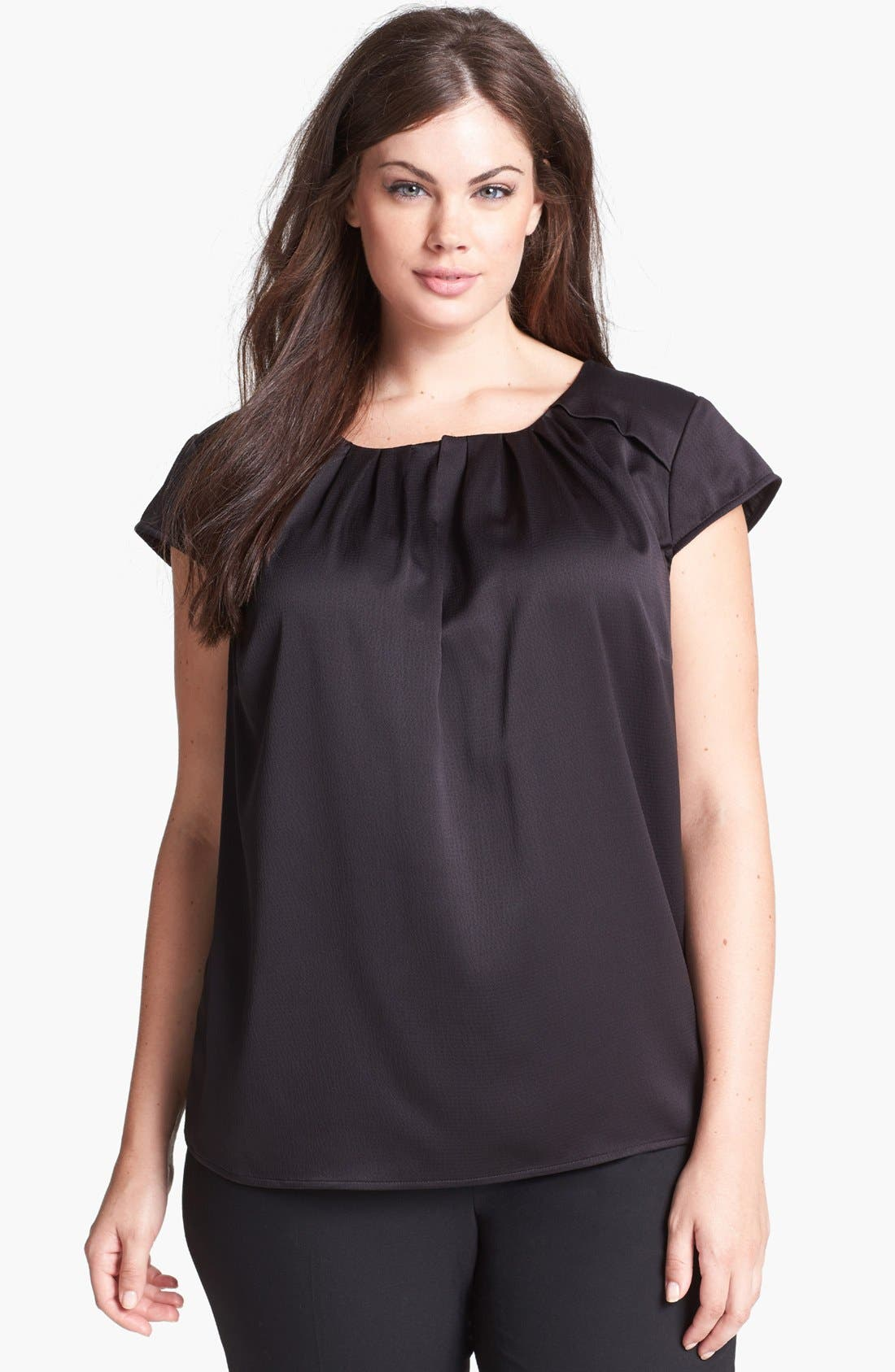 Main Image - Anne Klein Textured Satin Blouse (Plus Size)