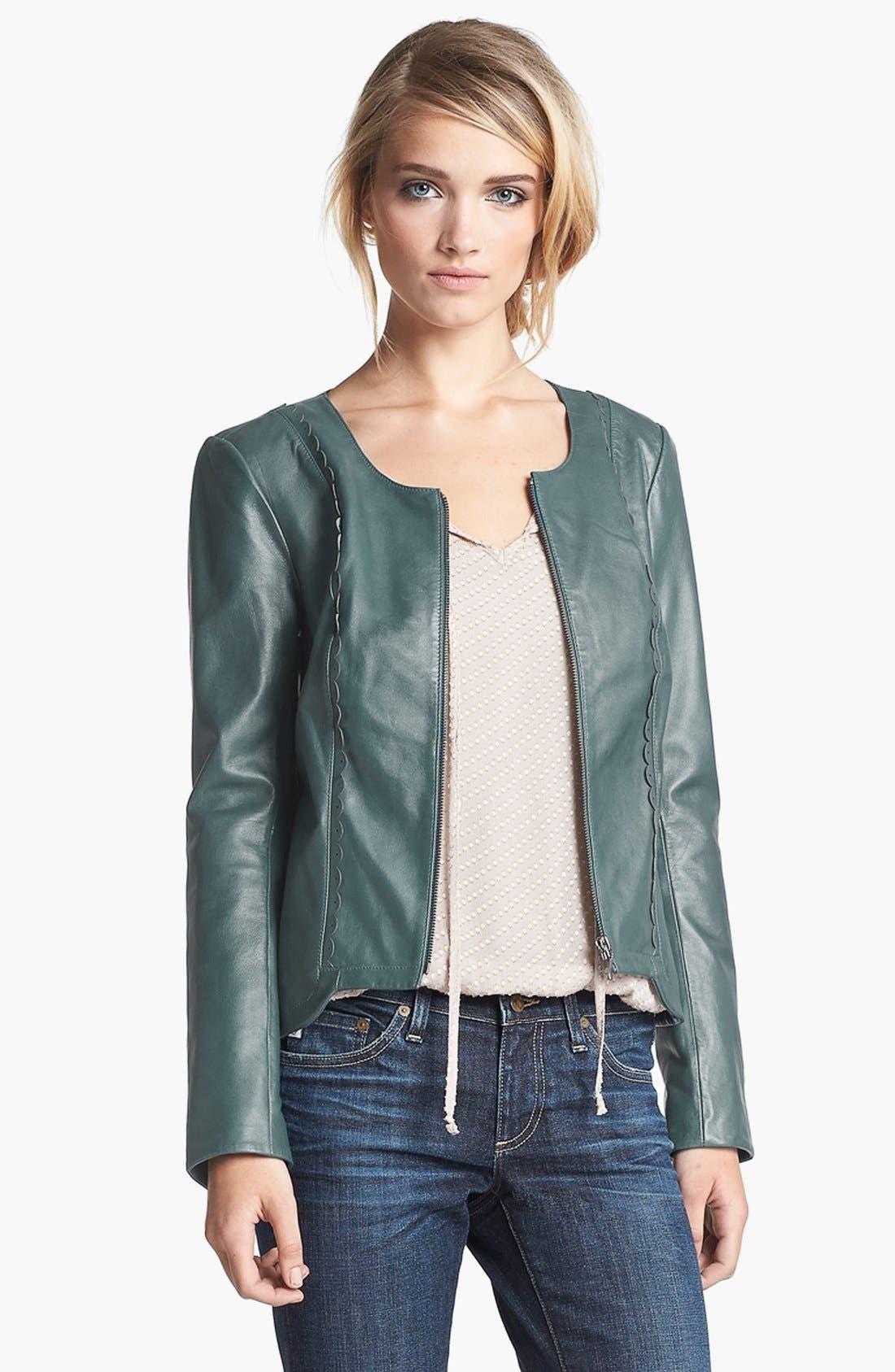 Alternate Image 1 Selected - Hinge® Scallop Trim Leather Jacket