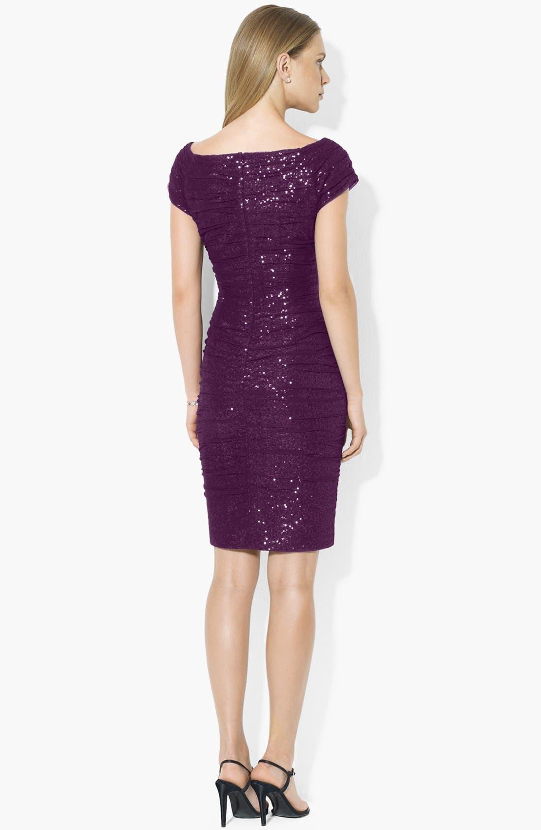 Alternate Image 2  - Lauren Ralph Lauren Sequin Off Shoulder Mesh Sheath Dress (Regular & Petite)
