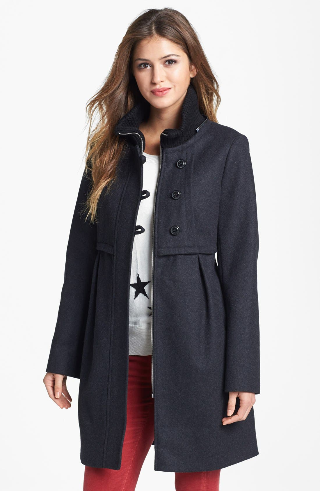 Alternate Image 3  - DKNY Knit Collar Babydoll Coat with Detachable Hood (Online Only)