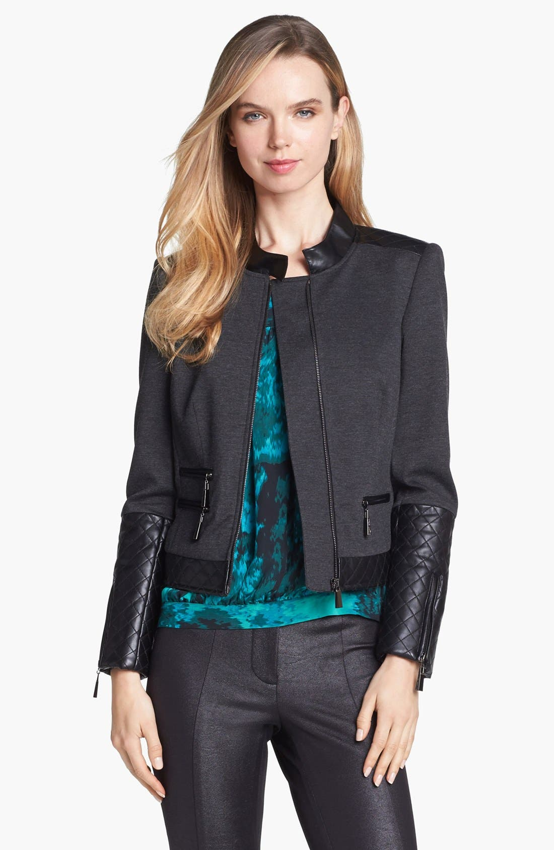 Alternate Image 3  - Vince Camuto Faux Leather Trim Jacket