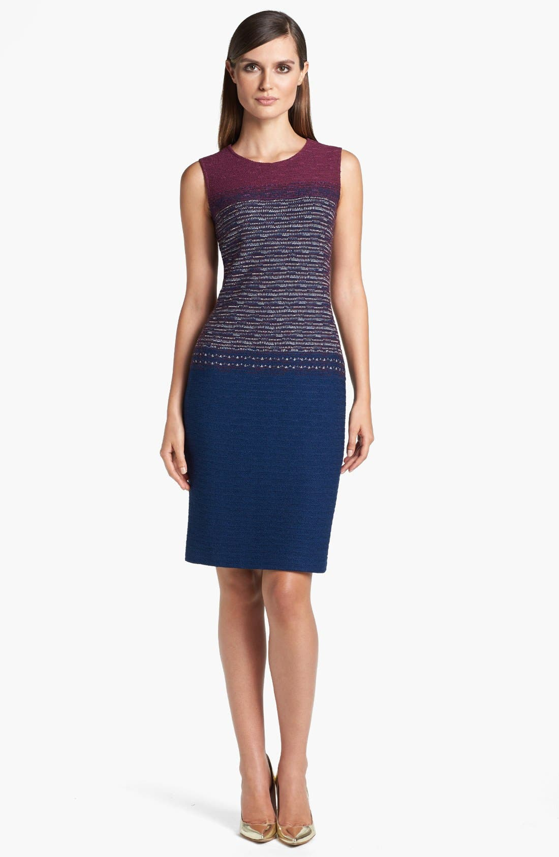Main Image - St. John Collection Space Dyed Tweed Sheath Dress