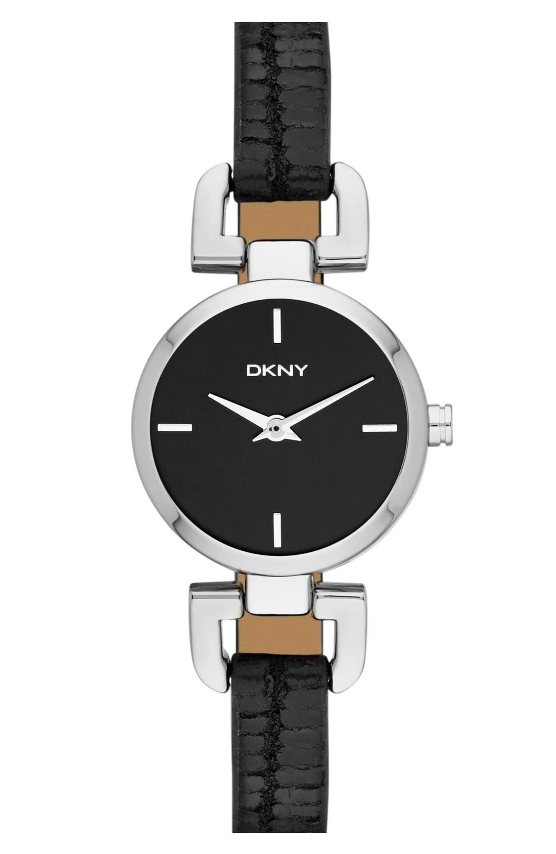 Main Image - DKNY 'Reade' Round Embossed Leather Strap Watch, 24mm