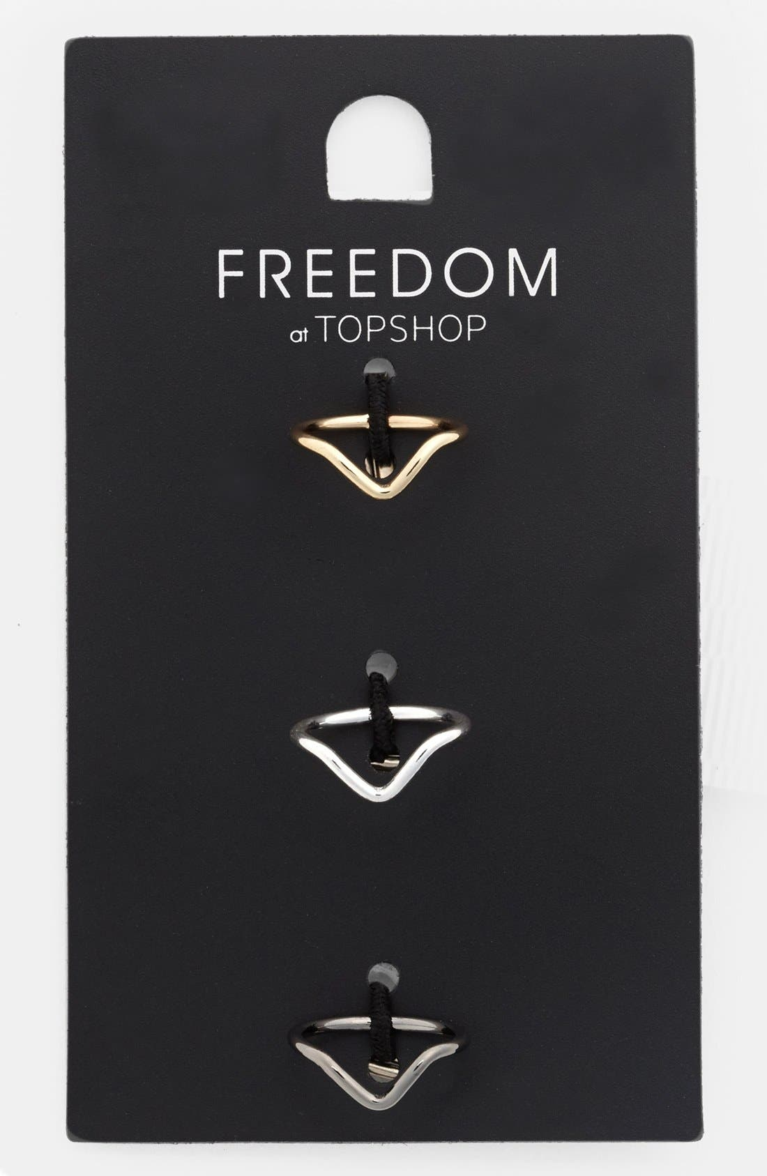 Main Image - Topshop 'Fine V' Midi Rings (Set of 3)