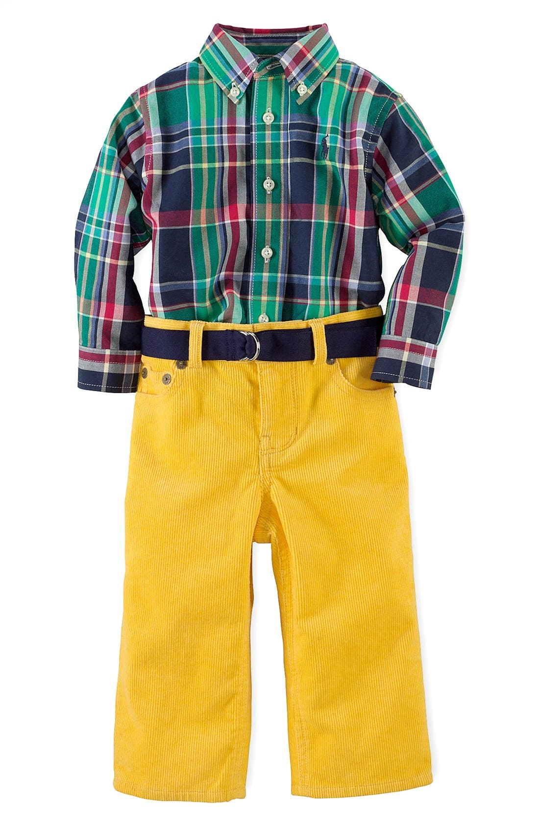 Alternate Image 1 Selected - Ralph Lauren Shirt & Pants (Baby Boys)