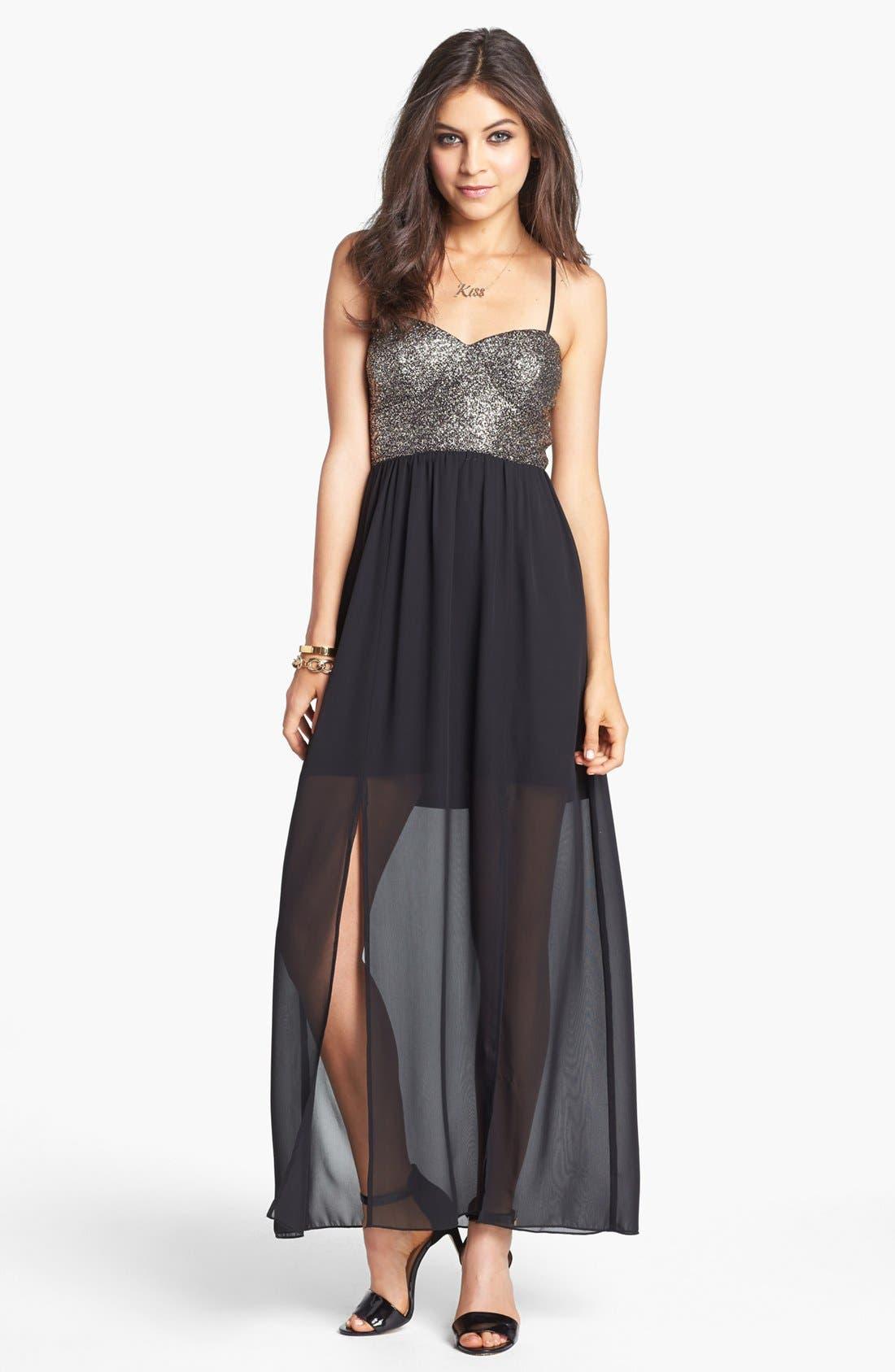 Alternate Image 1 Selected - Trixxi Cutout Back Glitter Bodice Maxi Dress (Juniors)