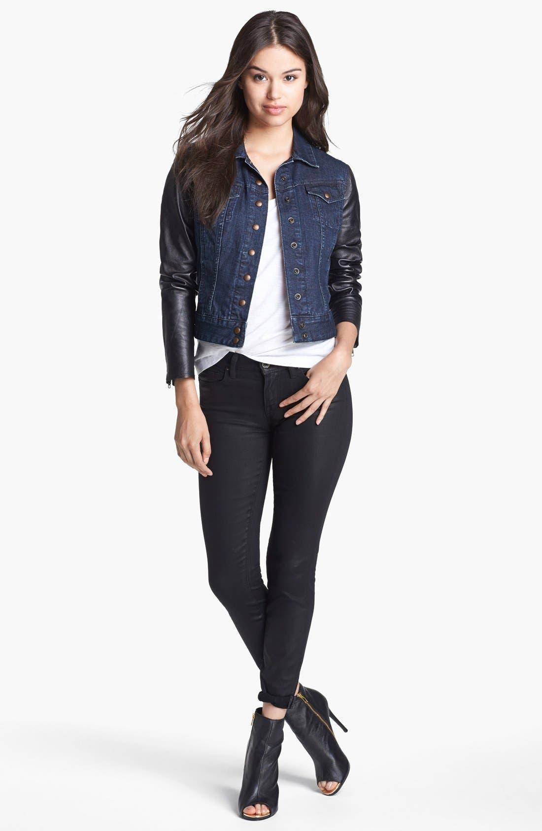 Alternate Image 2  - Lucky Brand 'Sofia' Coated Skinny Jeans (Black)