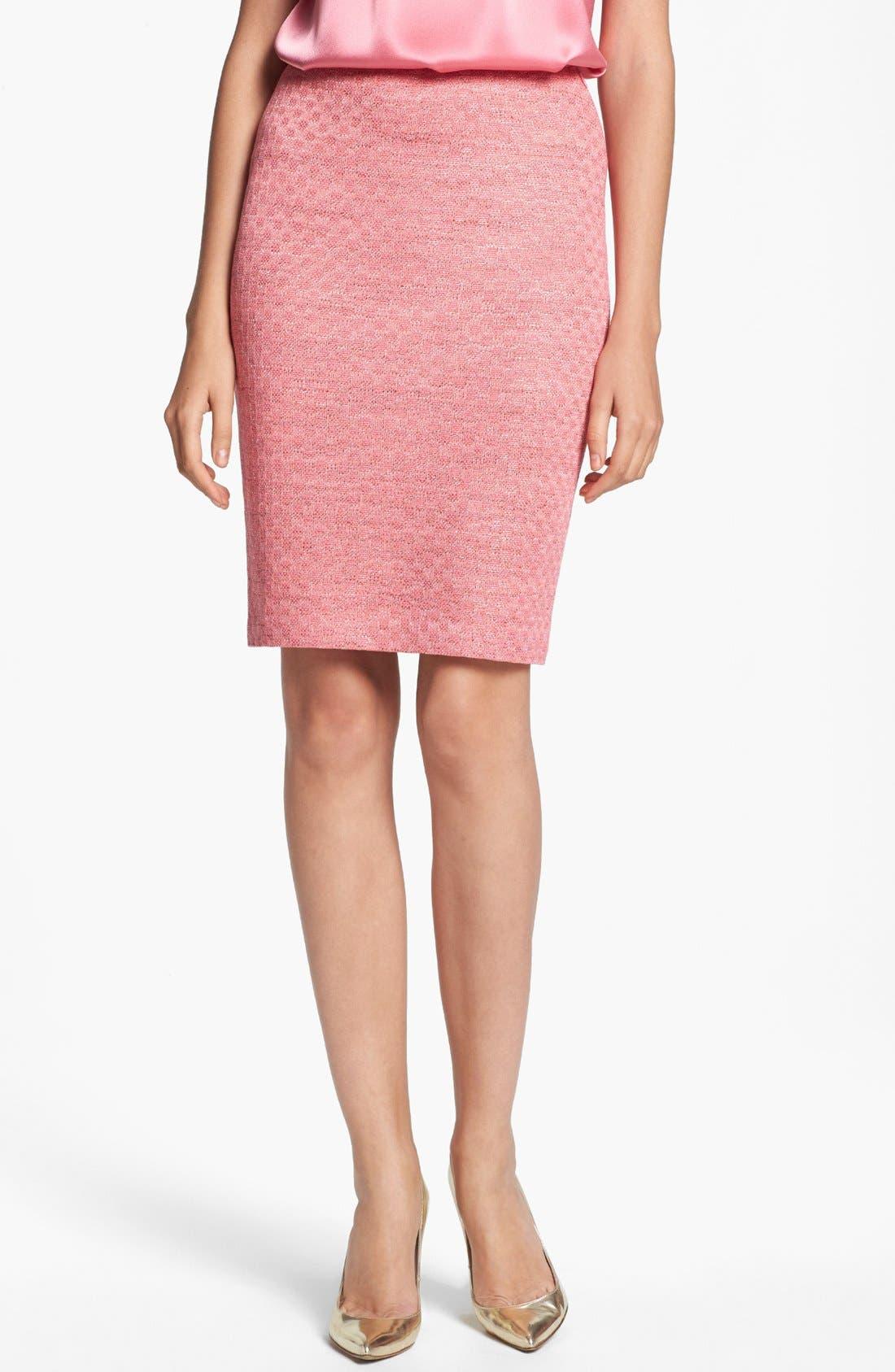 Main Image - St. John Collection Damier Knit Pencil Skirt