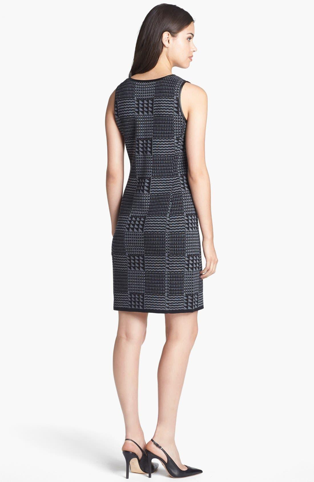 Alternate Image 2  - Halogen® Faux Leather Trim Knit Sheath Dress