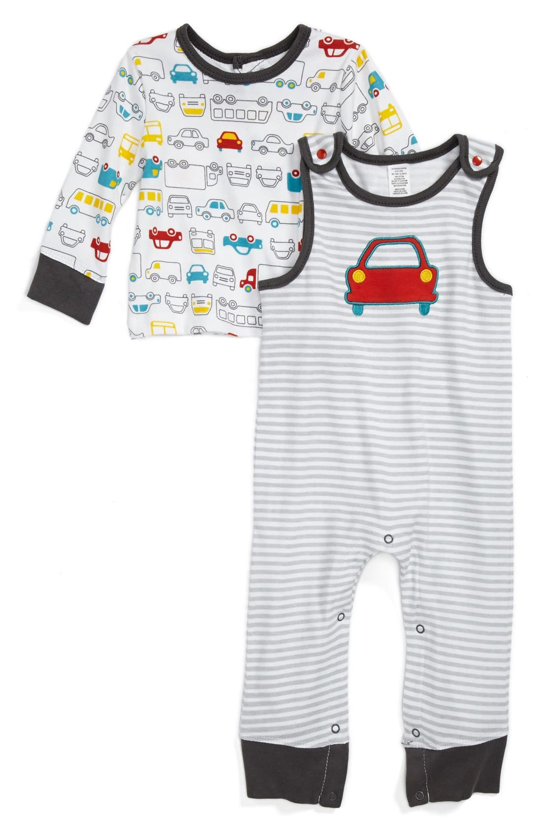 Alternate Image 1 Selected - Offspring 'Motorway' Top & Overalls (Baby Boys)