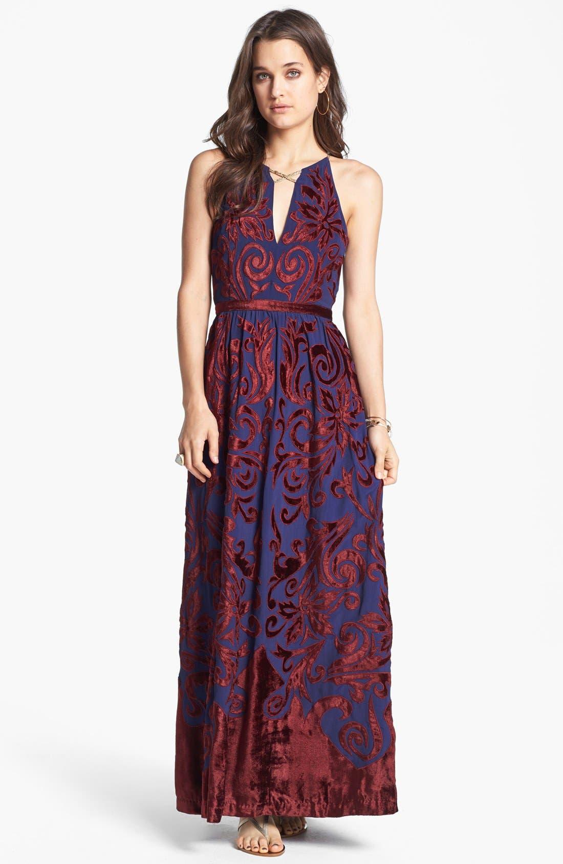 Main Image - Free People 'Hedge Maze' Velvet Appliqué Maxi Dress