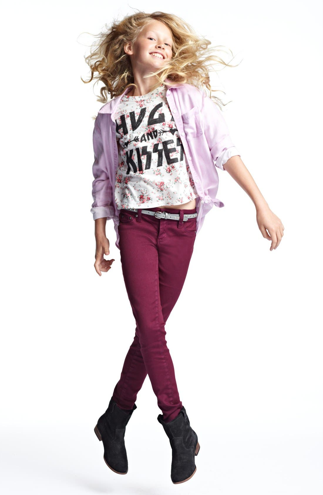 Alternate Image 1 Selected - Tucker + Tate Top, Modern Lux Tee &  Tractor Jeans (Big Girls)