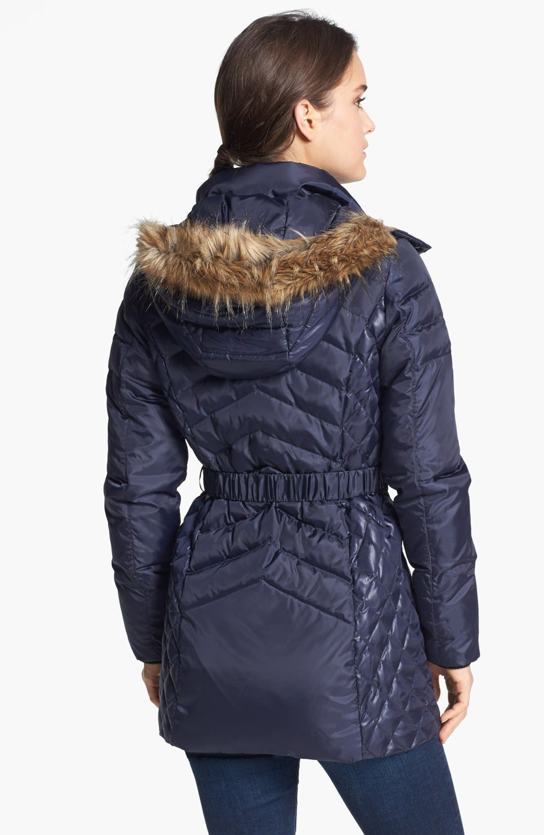 Alternate Image 2  - Sam Edelman Faux Fur Trim Belted Down Jacket