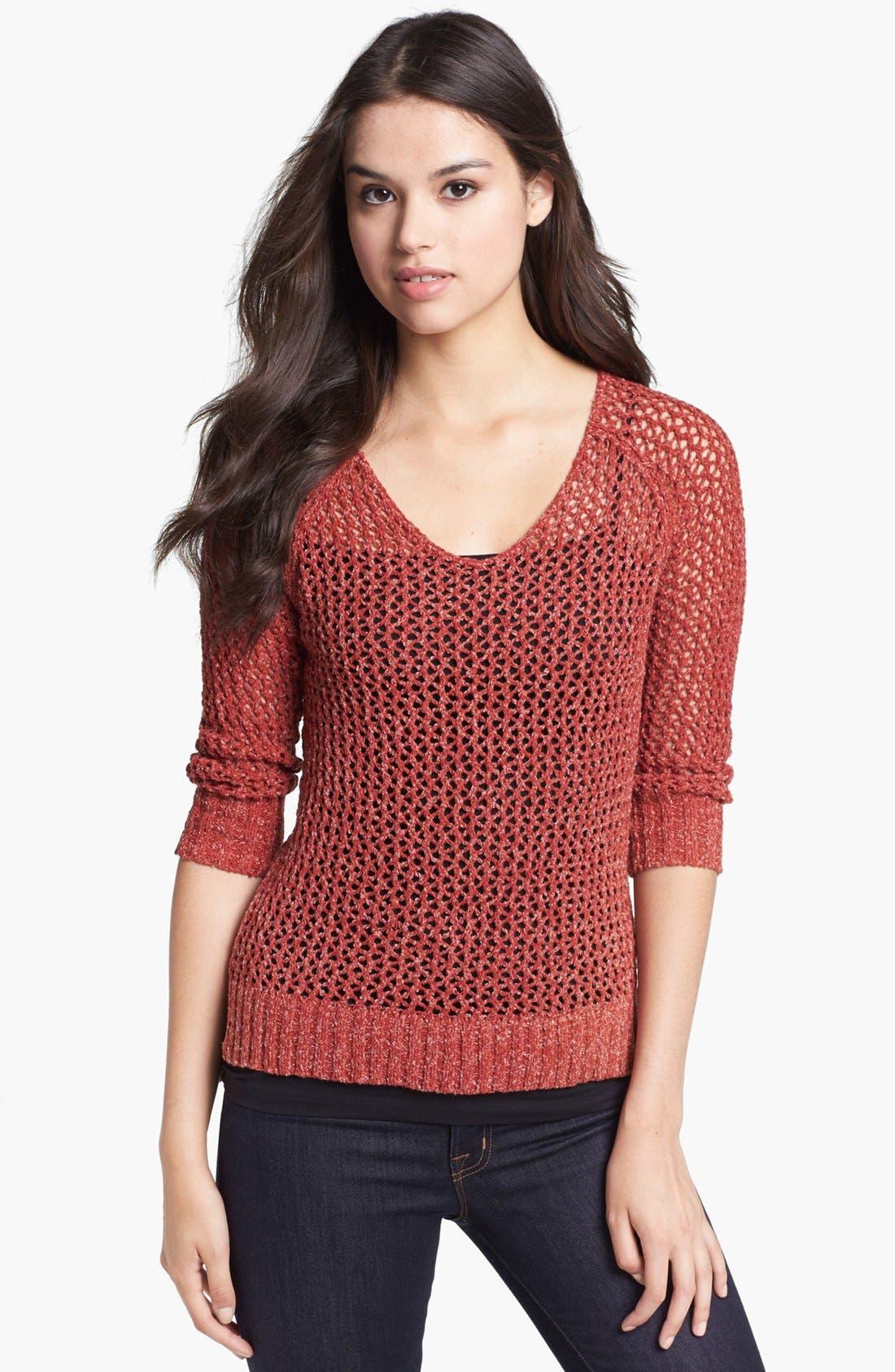 Alternate Image 1 Selected - Lucky Brand 'Cerise' Open Stitch Sweater