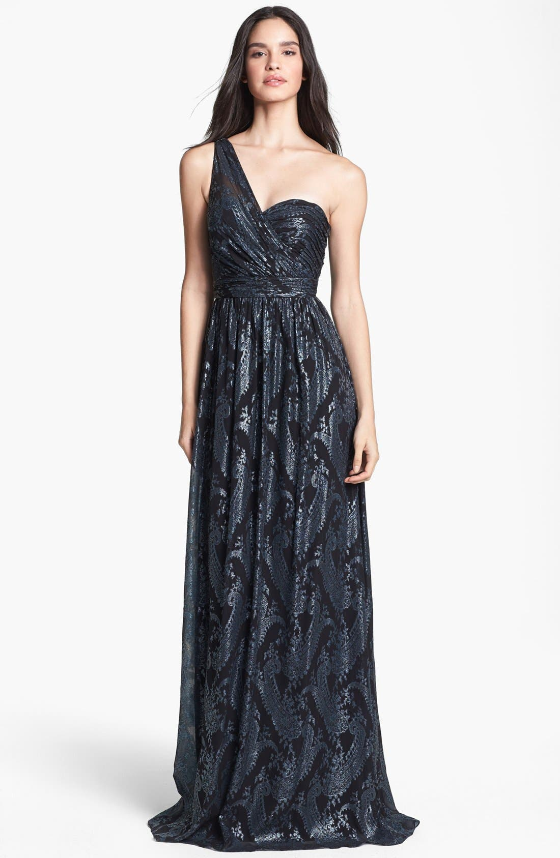 Alternate Image 1 Selected - ERIN erin fetherston 'Catalina' Metallic One-Shoulder Gown