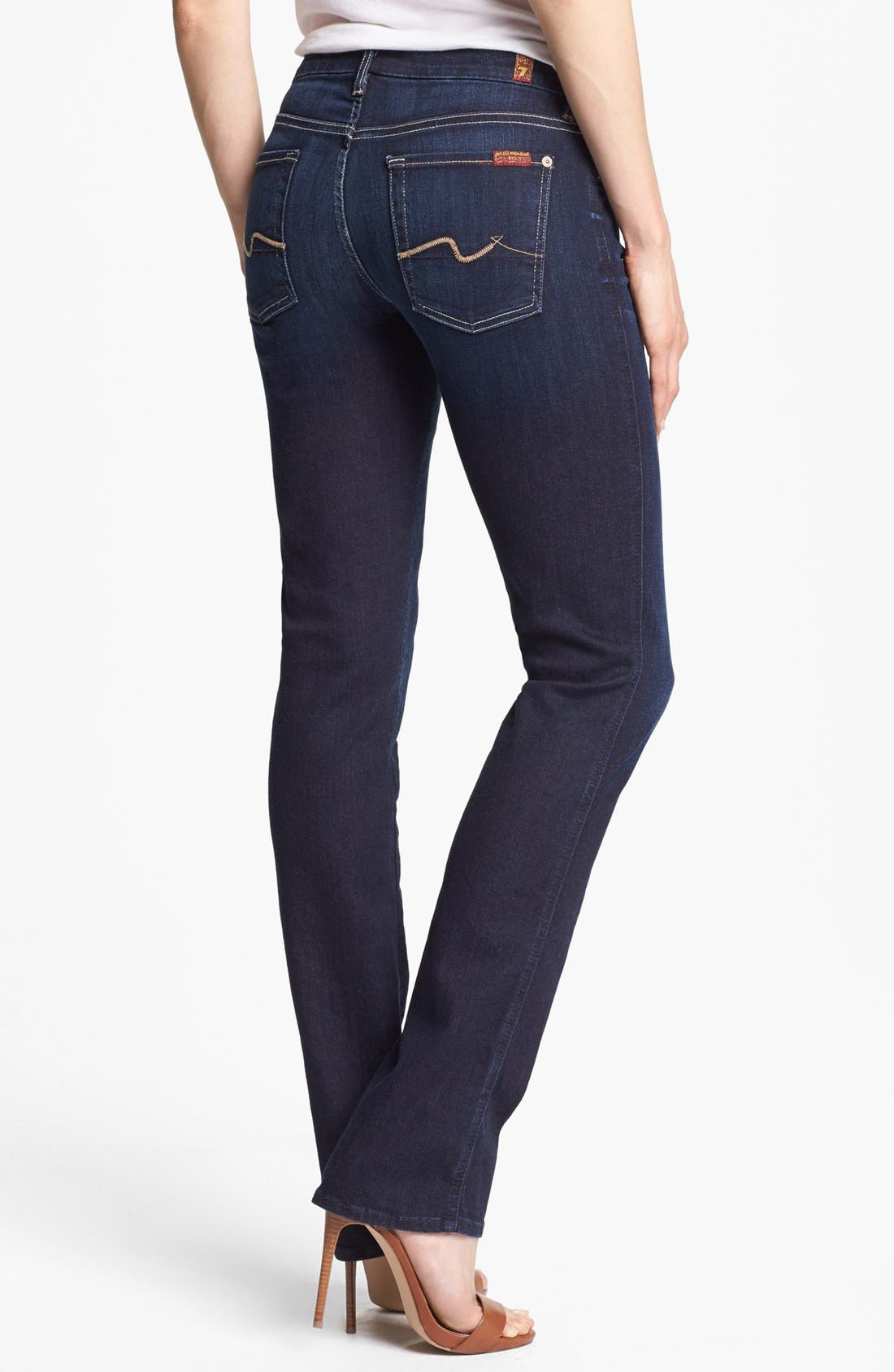 Alternate Image 2  - 7 For All Mankind® 'Kimmie' Straight Leg Jeans (Black Night)