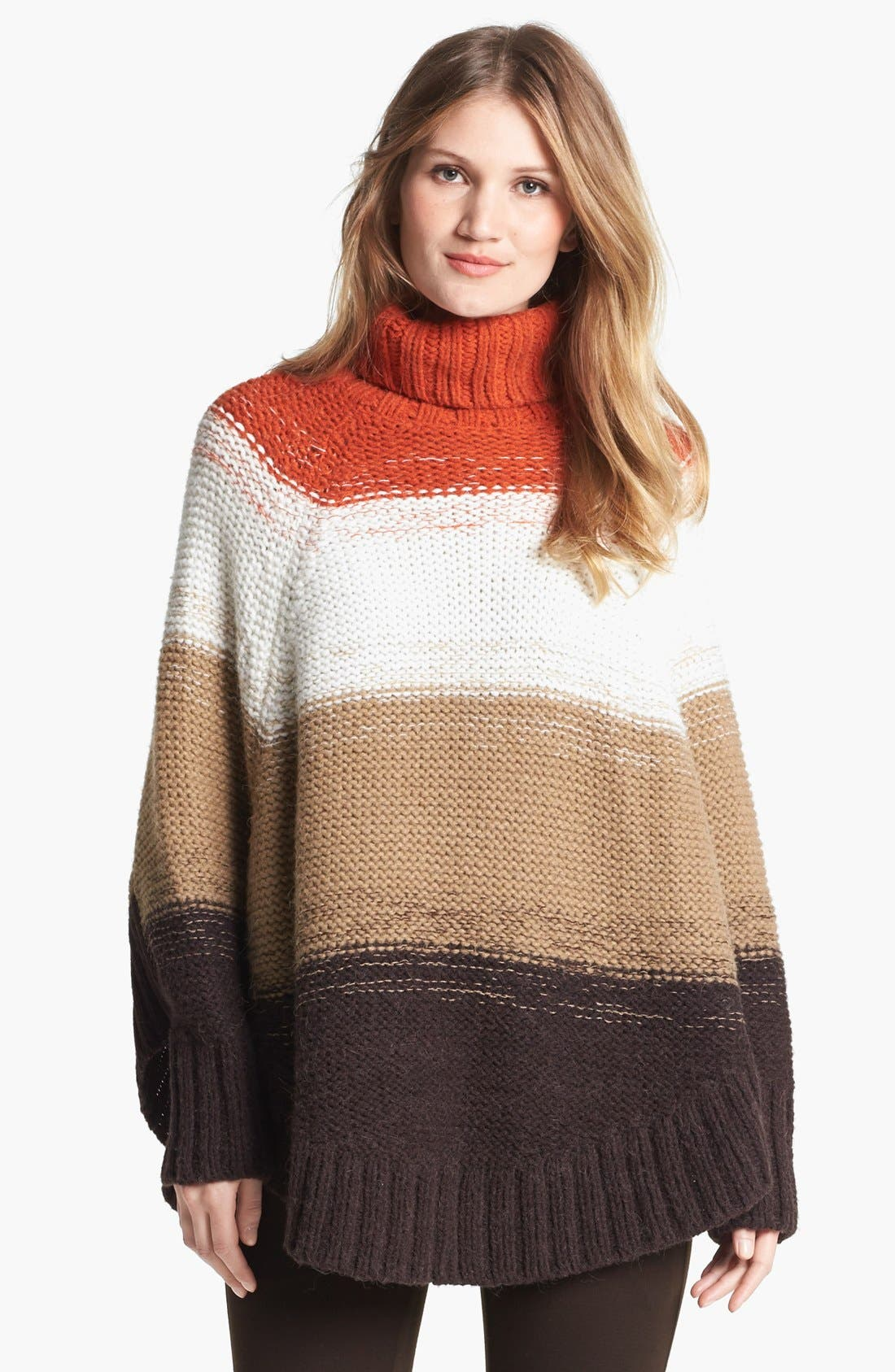 Main Image - MICHAEL Michael Kors Stripe Turtleneck Poncho Sweater