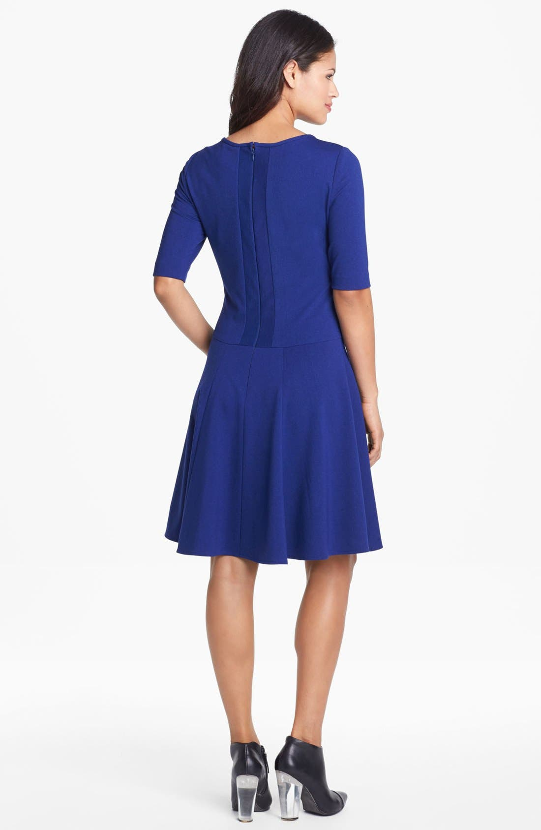 Alternate Image 2  - Eliza J Seamed Skater Dress (Petite)