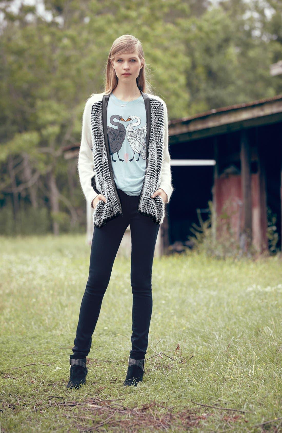 Main Image - Trouvé Cardigan, Wildfox Tee & Paige Denim Jeans