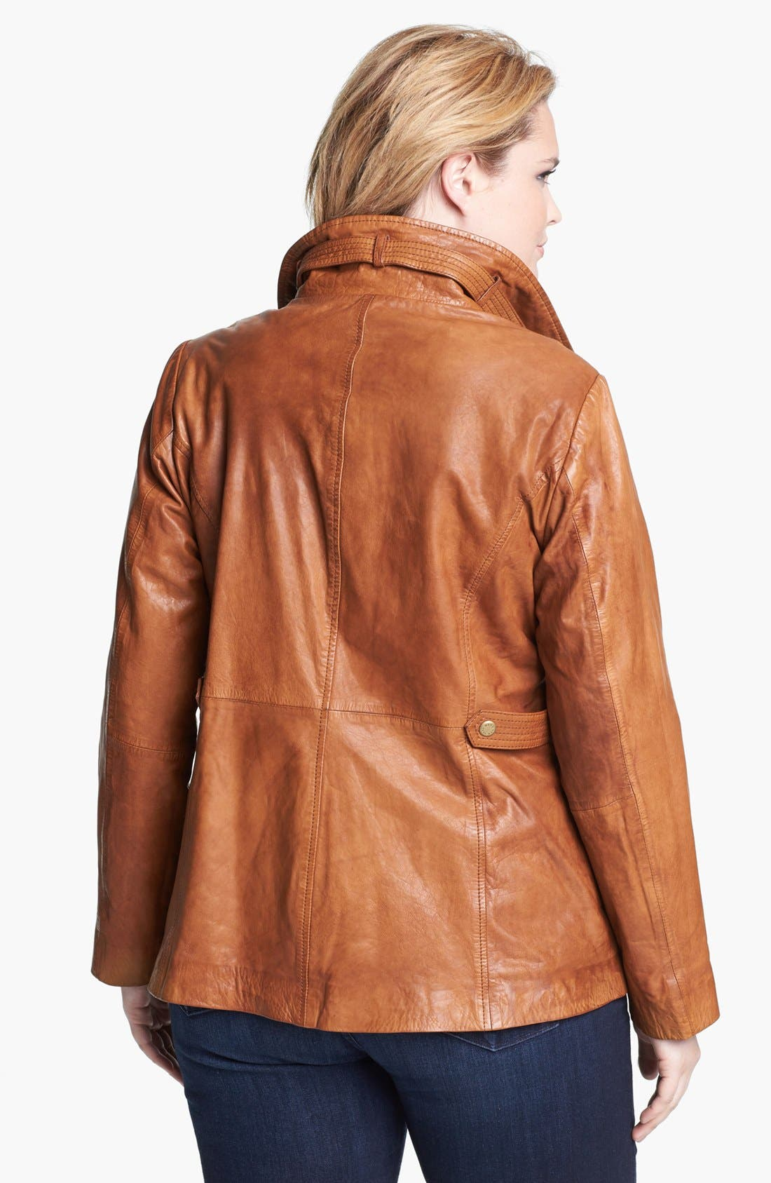 Alternate Image 2  - Marc New York by Andrew Marc 'Reese' Leather Scuba Jacket (Plus Size)