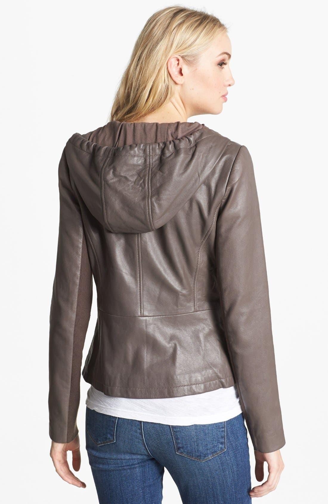 Alternate Image 2  - Hinge® Hooded Leather Jacket