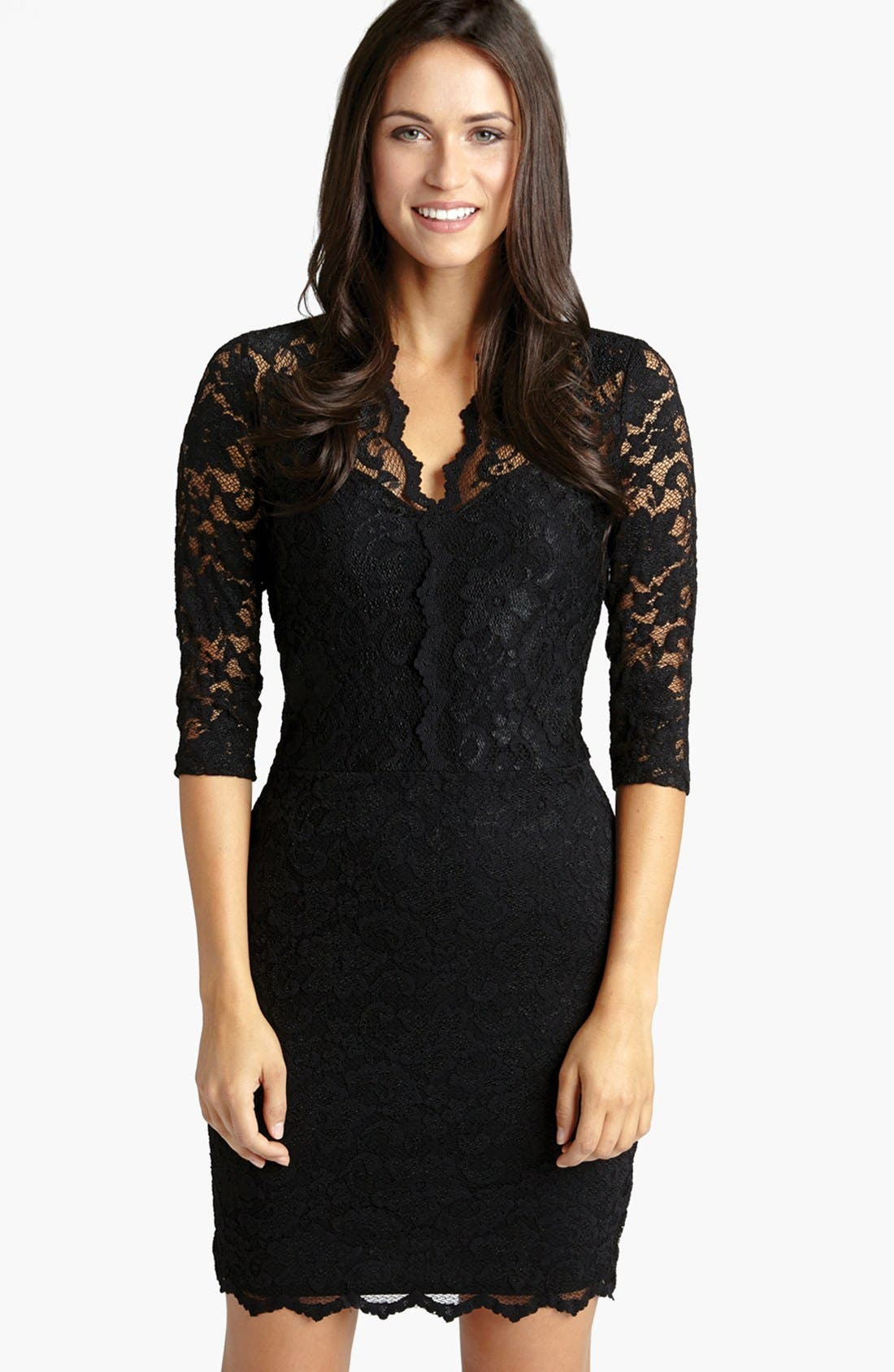 KAREN KANE Scalloped Lace Sheath Dress