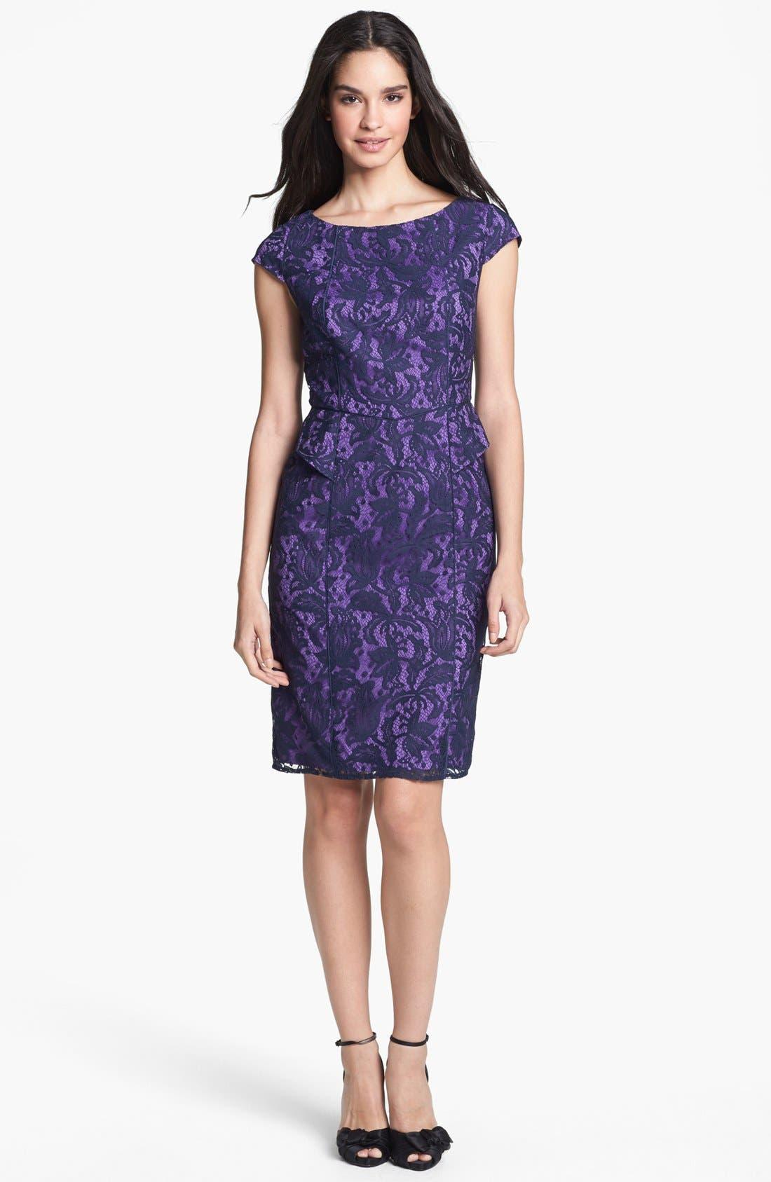 Main Image - Adrianna Papell Lace Partial Peplum Sheath Dress