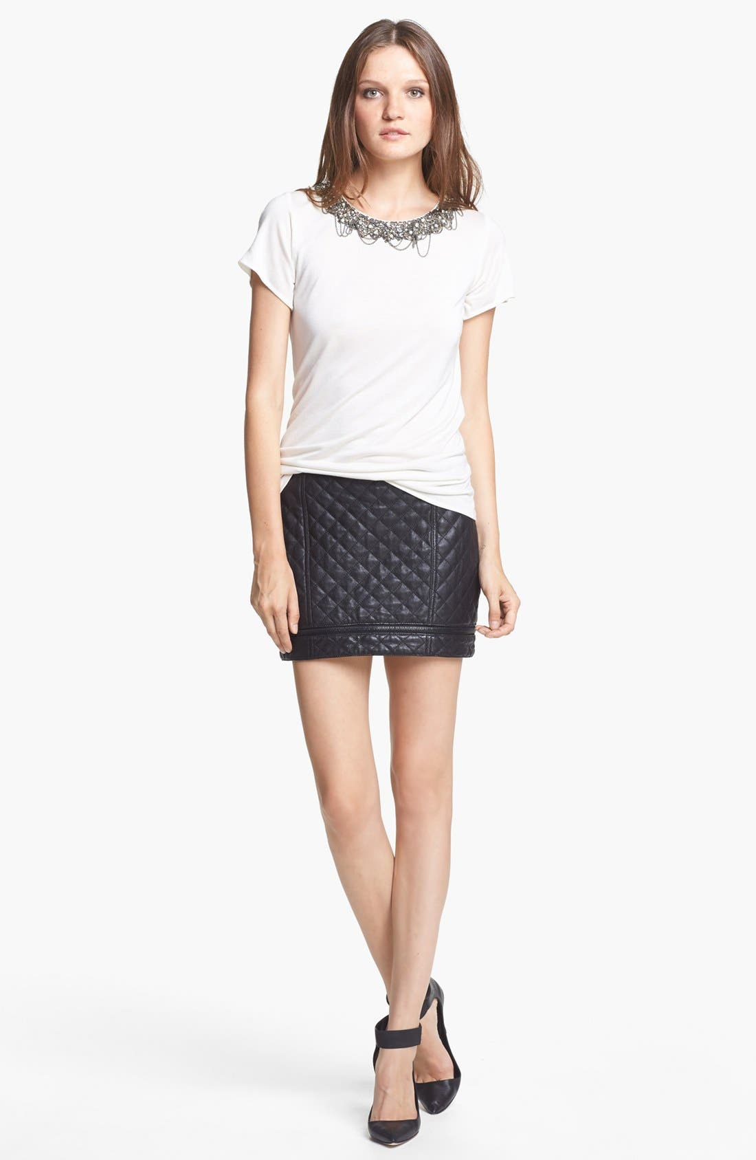 Alternate Image 3  - Haute Hippie Quilted Leather Miniskirt