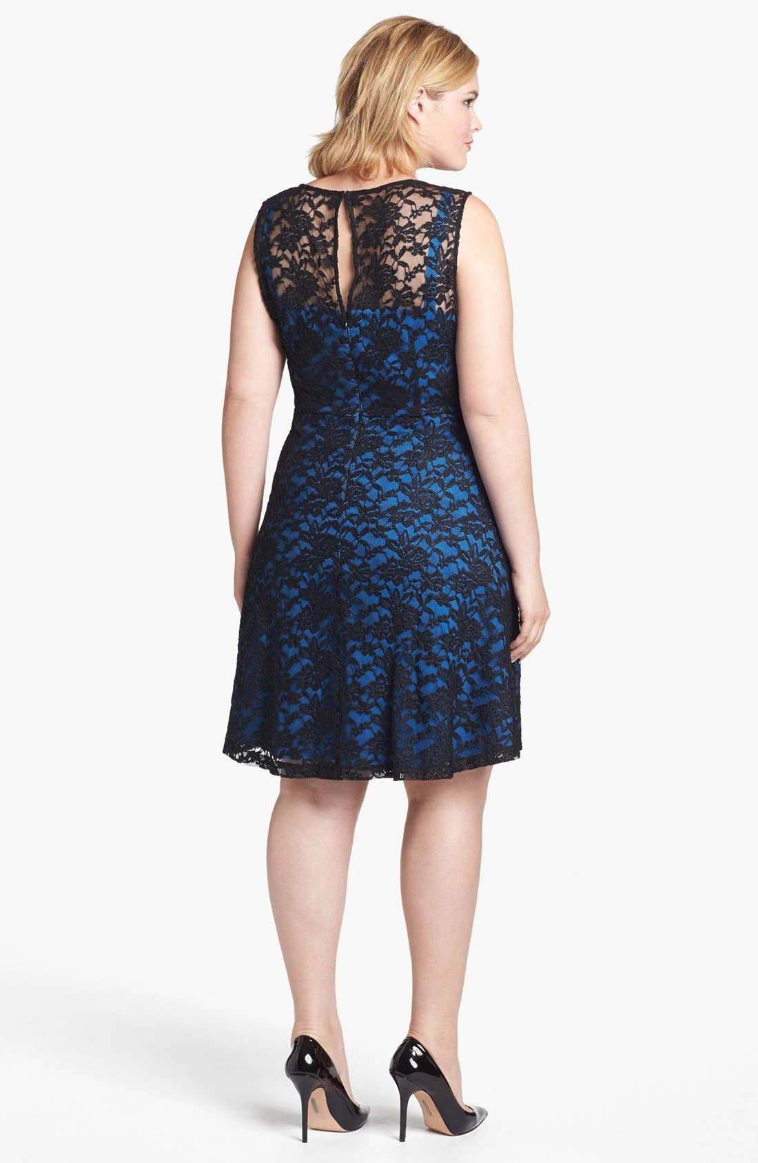 Alternate Image 2  - Ivy & Blu Lace Fit & Flare Dress (Plus Size)