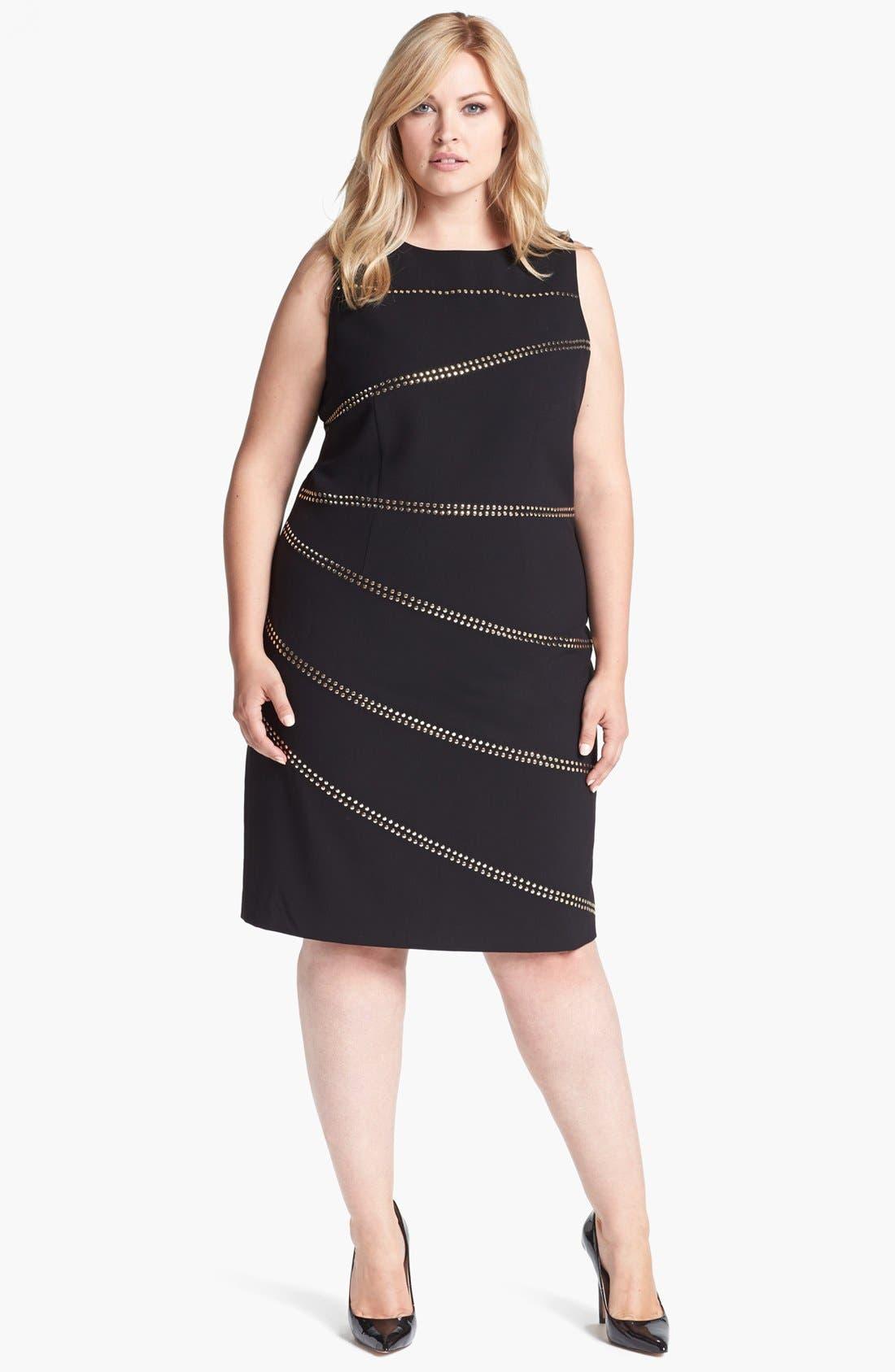 Alternate Image 1 Selected - Calvin Klein Studded Sheath Dress (Plus Size)