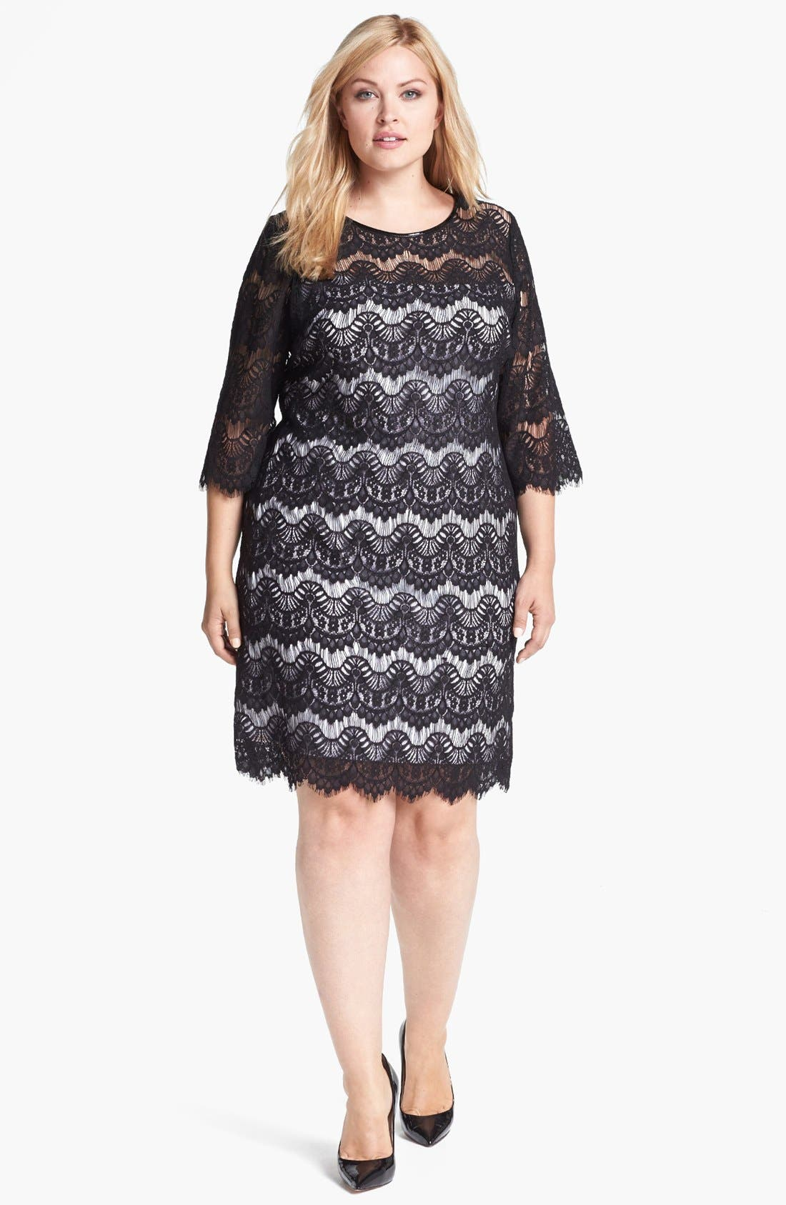 Main Image - Calvin Klein Faux Leather Trim Lace Dress (Plus Size)