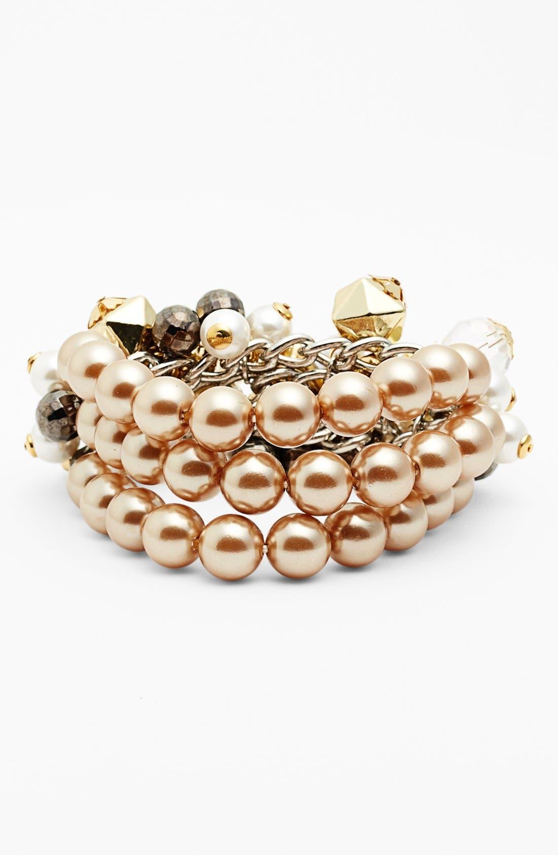 Alternate Image 2  - Adia Kibur Chunky Faux Pearl Stretch Bracelet