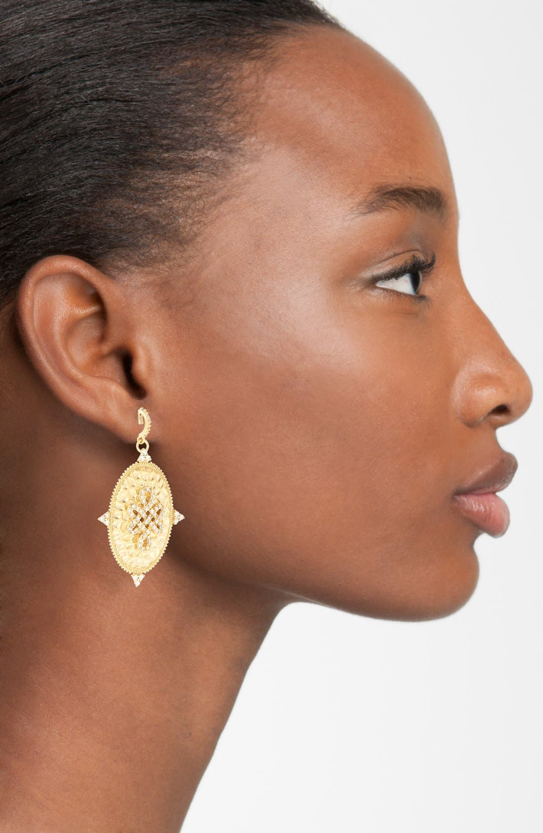 Alternate Image 2  - FREIDA ROTHMAN 'Gramercy' Love Knot Oval Shield Earrings