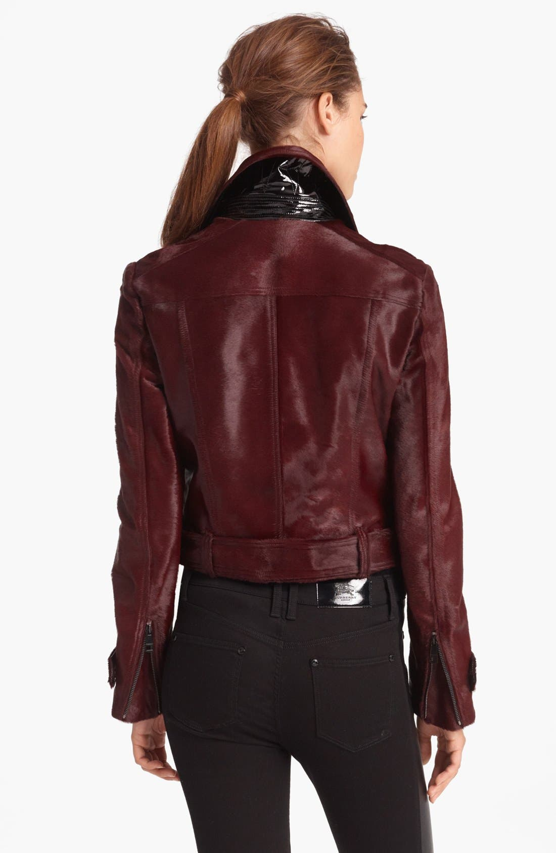 Alternate Image 2  - Burberry London Genuine Calf Hair Moto Jacket
