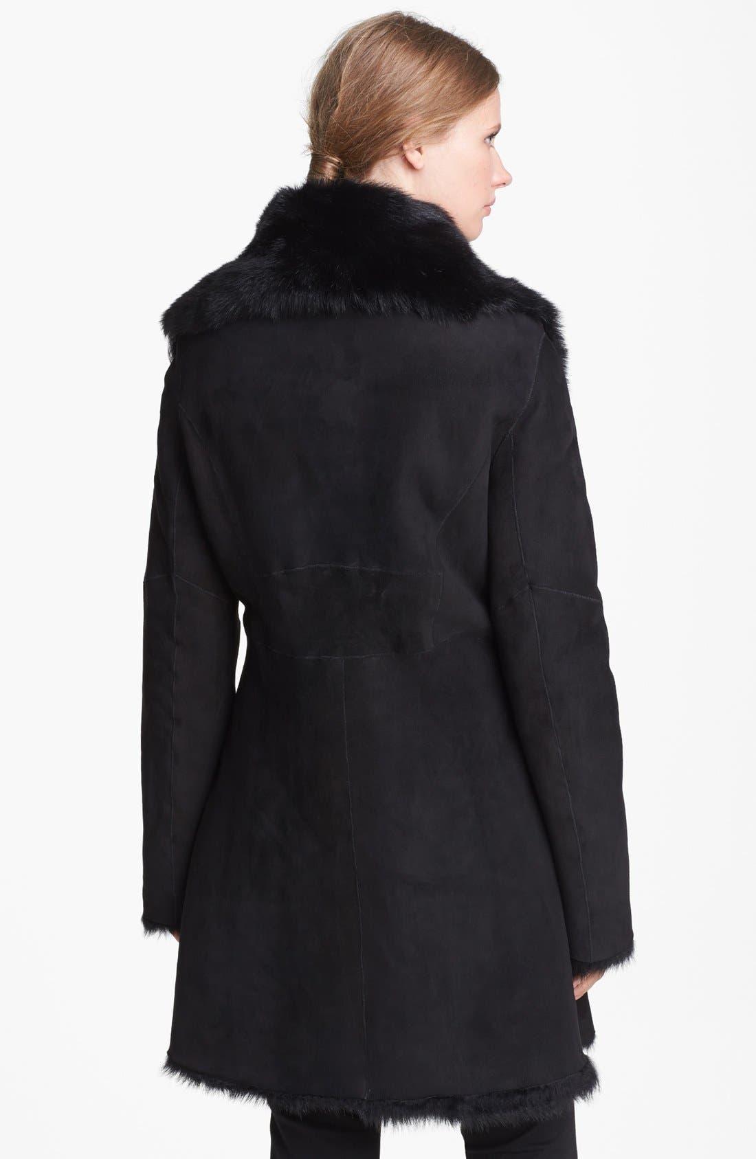 Alternate Image 2  - Cole Haan Asymmetrical Zip Genuine Toscana Shearling Coat